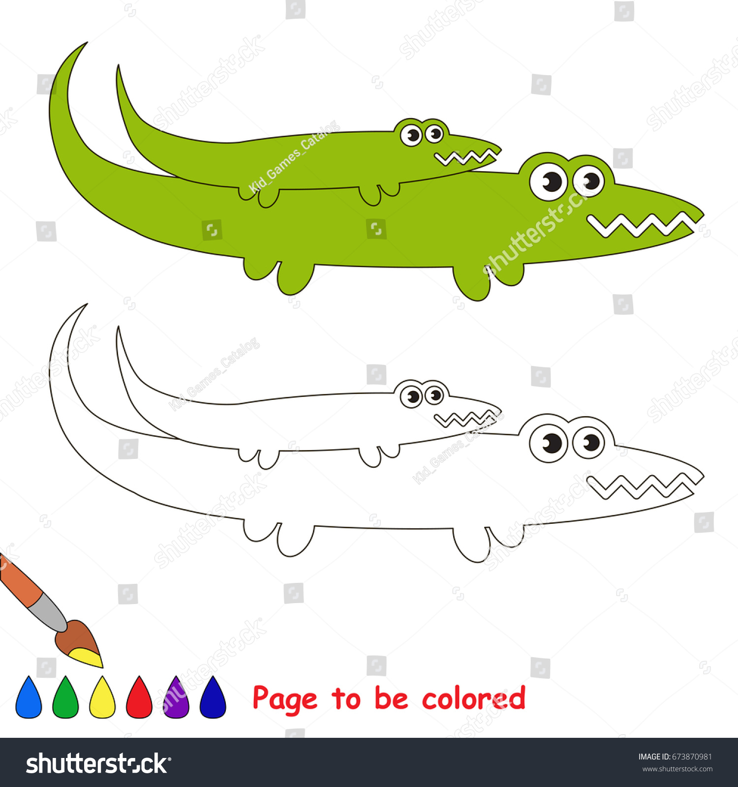 Funny Crocodile Mother Be Colored Coloring Stock Vector HD (Royalty ...