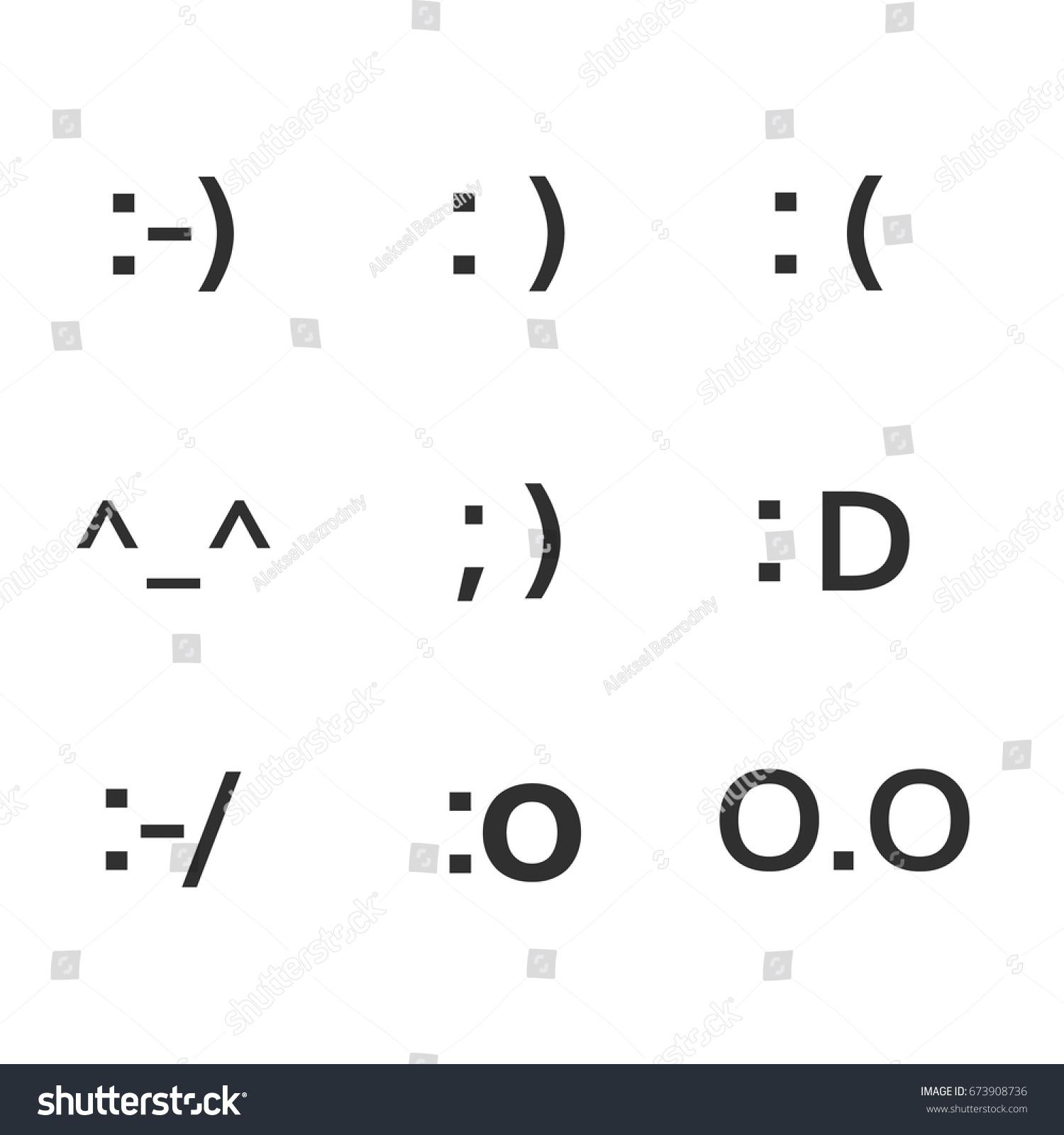 Emoji faces keyboard symbols smile symbols stock vector 673908736 emoji faces keyboard symbols smile symbols smiley faces set biocorpaavc Images