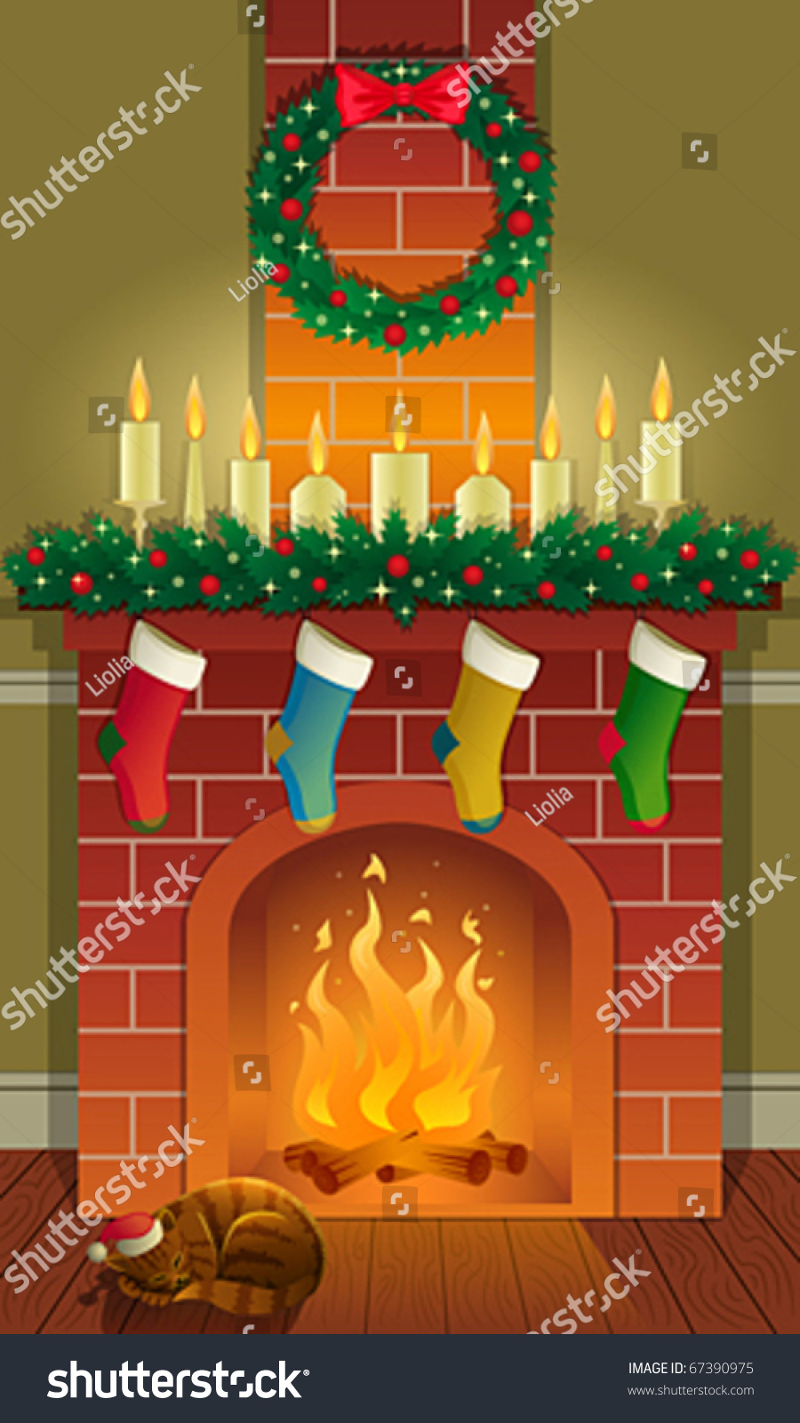 Christmas Fireplace Stock Vector Illustration 67390975 : Shutterstock