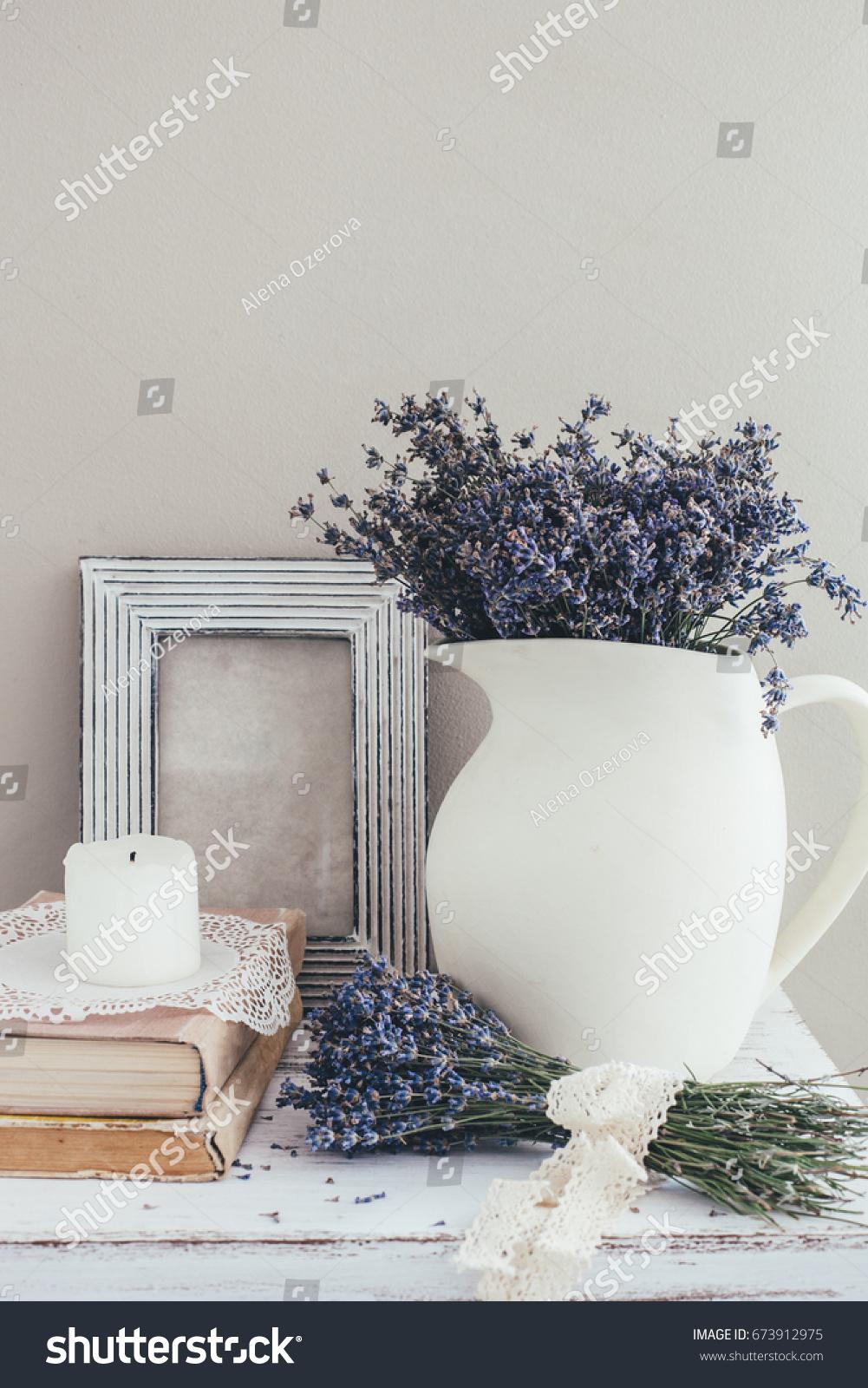 Shabby Chic Interior Decor Farmhouse Lavender Stock Photo (Royalty ...