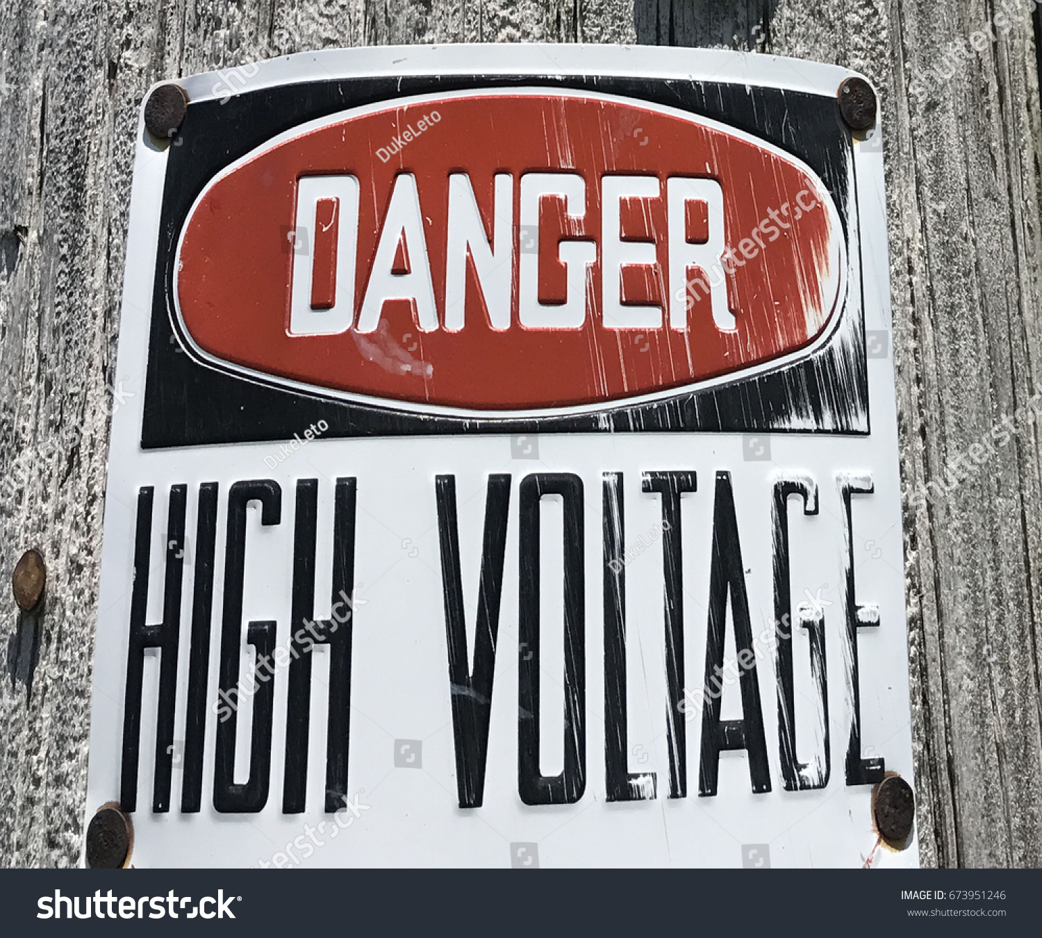 Danger High Voltage Weathered Metal Sign Stock Photo (Edit Now ...