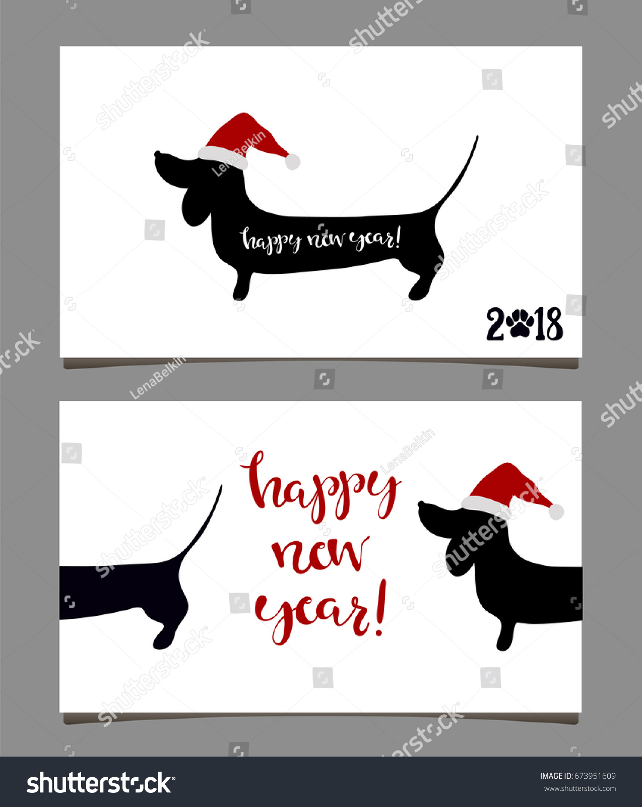 Happy New Year Greeting Cards Dachshund Stock Vector 673951609