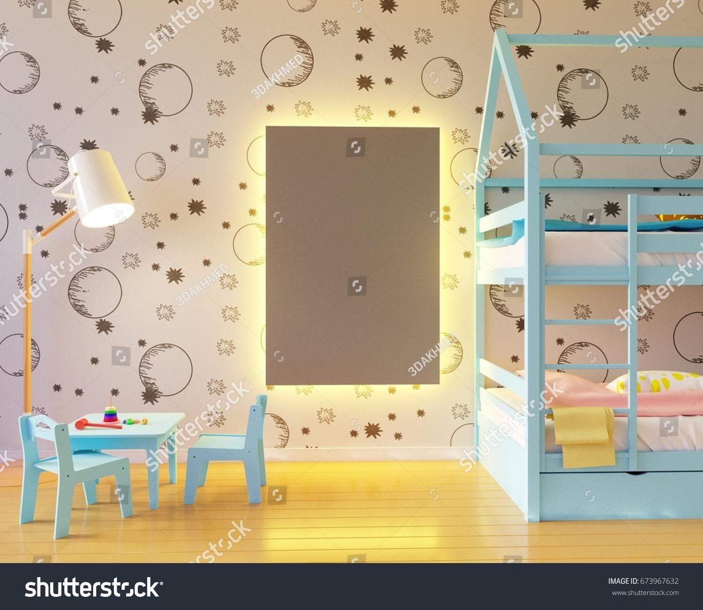 Mock Poster Childrens Color Room Light Stock Illustration 673967632 ...