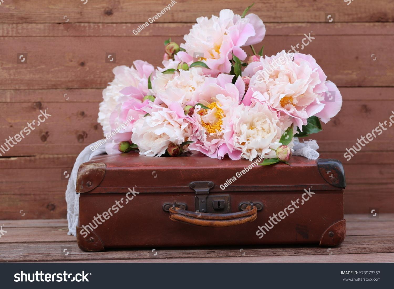 Beauty Pink Bouquet Bunch Peonies Grey Stock Photo Edit Now 673973353