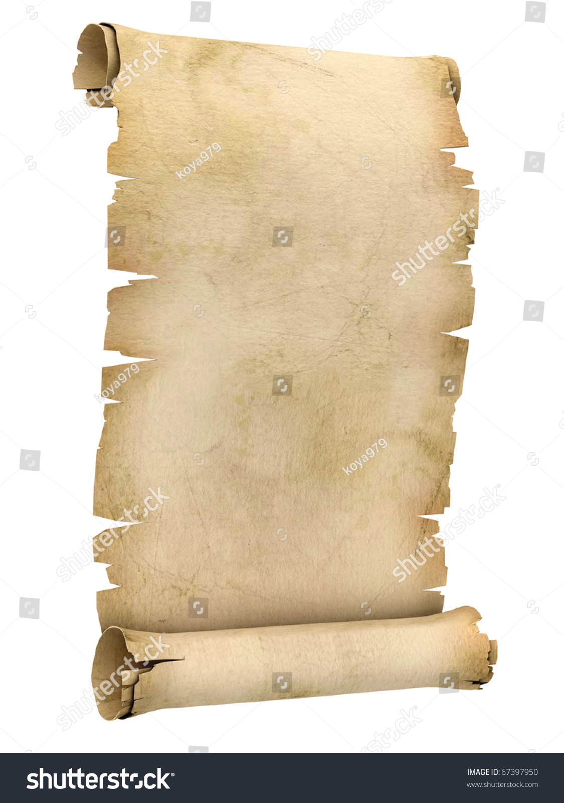 3d Scroll Of Parchment Photo: Parchment Scroll 3d Illustration Isolated On Stock