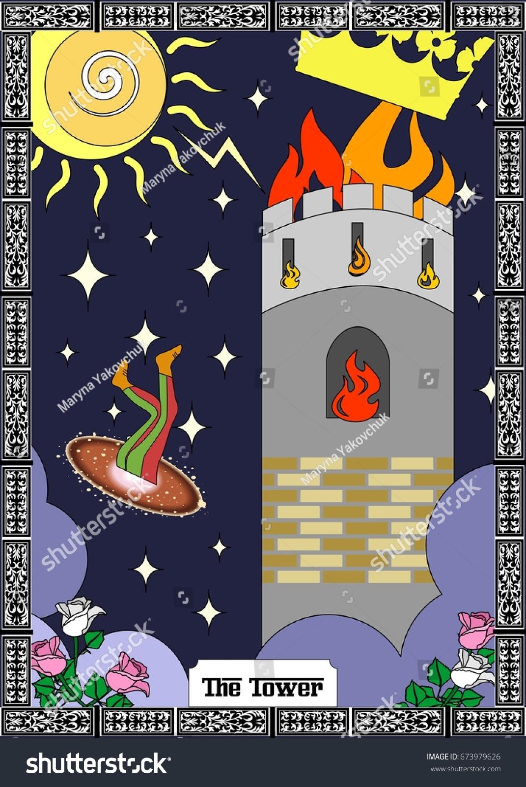 Illustration Card Tarot Tower Stock Vector (Royalty Free) 673979626