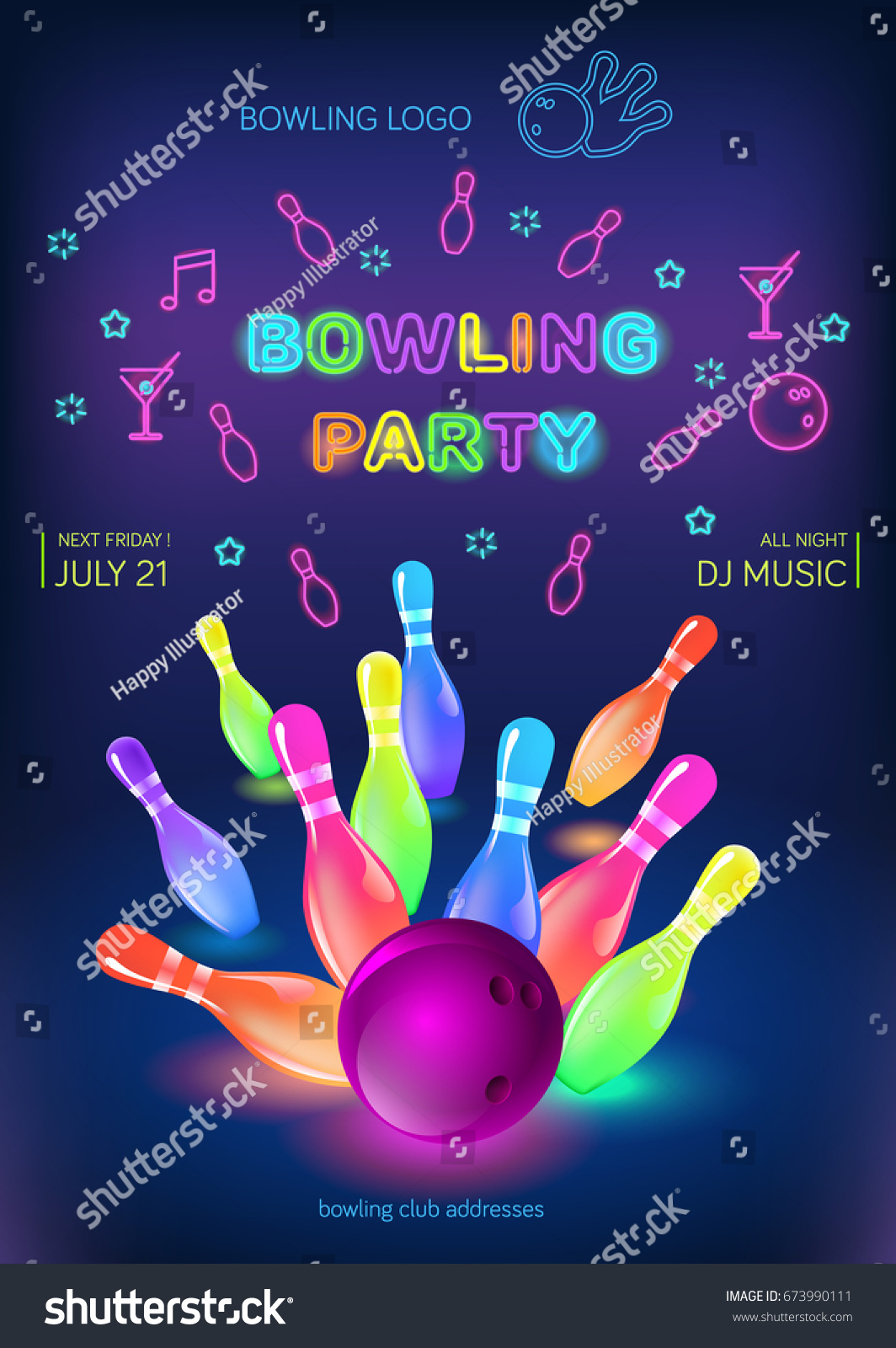 Bowling Party Template A6 Format Size Vector 673990111 – Bowling Flyer Template