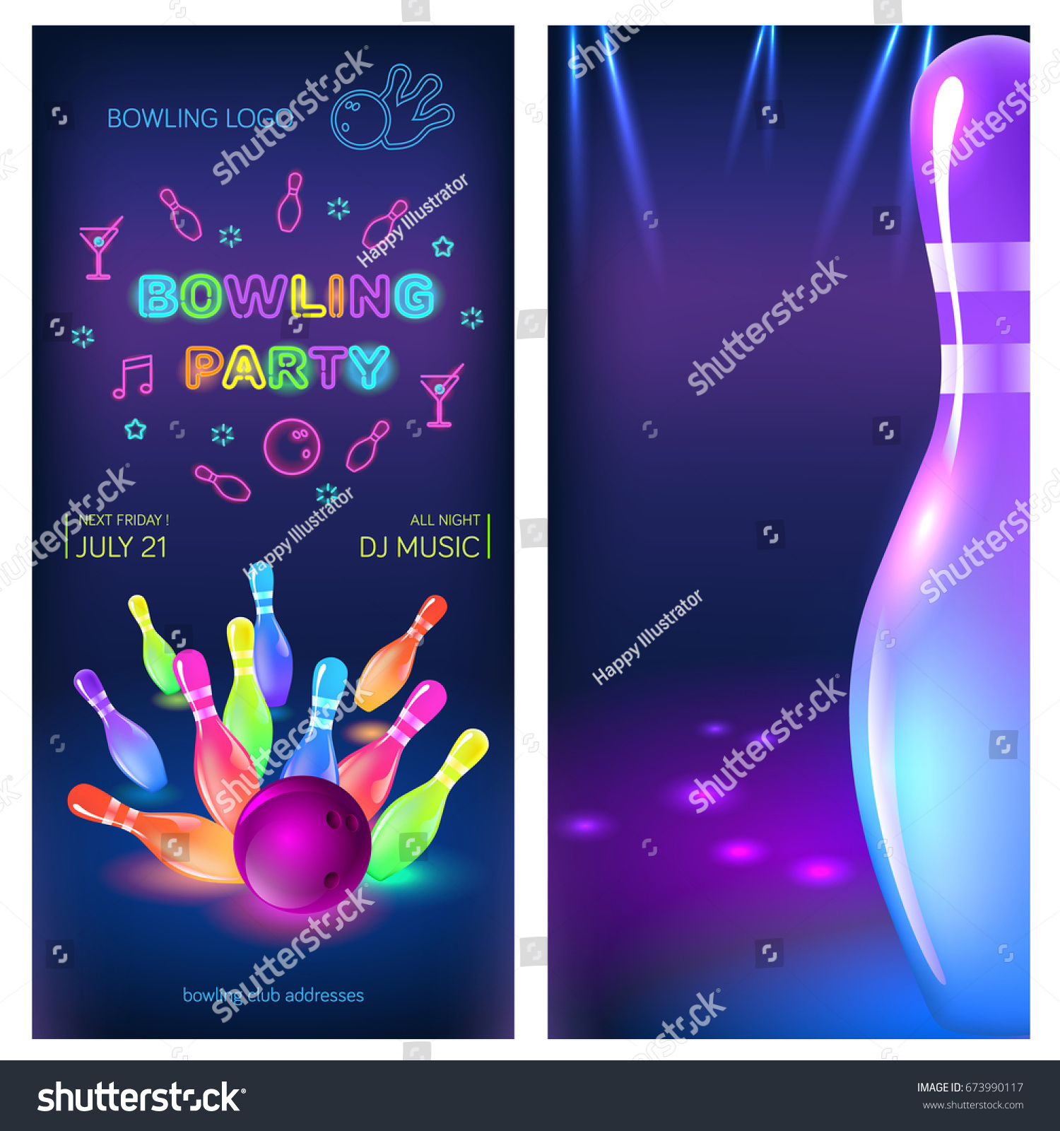 Bowling party flyer template vector clip stock vector 673990117 bowling party flyer template vector clip art illustration pronofoot35fo Images