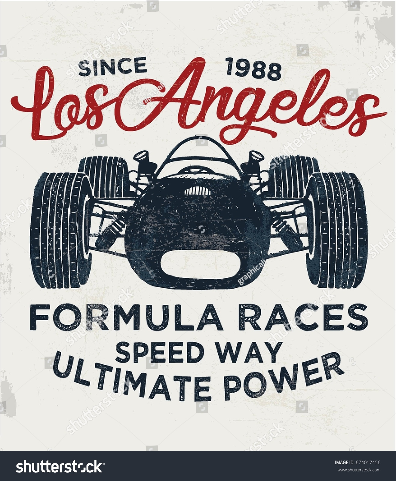 Cool Vintage Race Car Illustration Vector Stock Vector Royalty Free 674017456