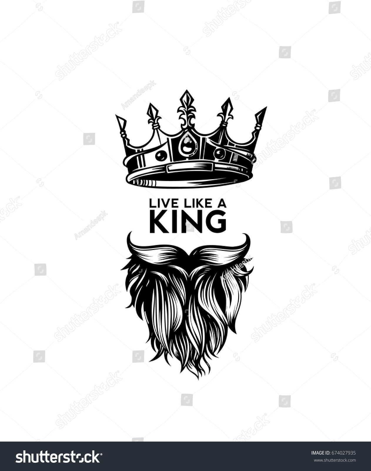 King Crown Moustache Beard Icon Symbol Stock Vector 674027935