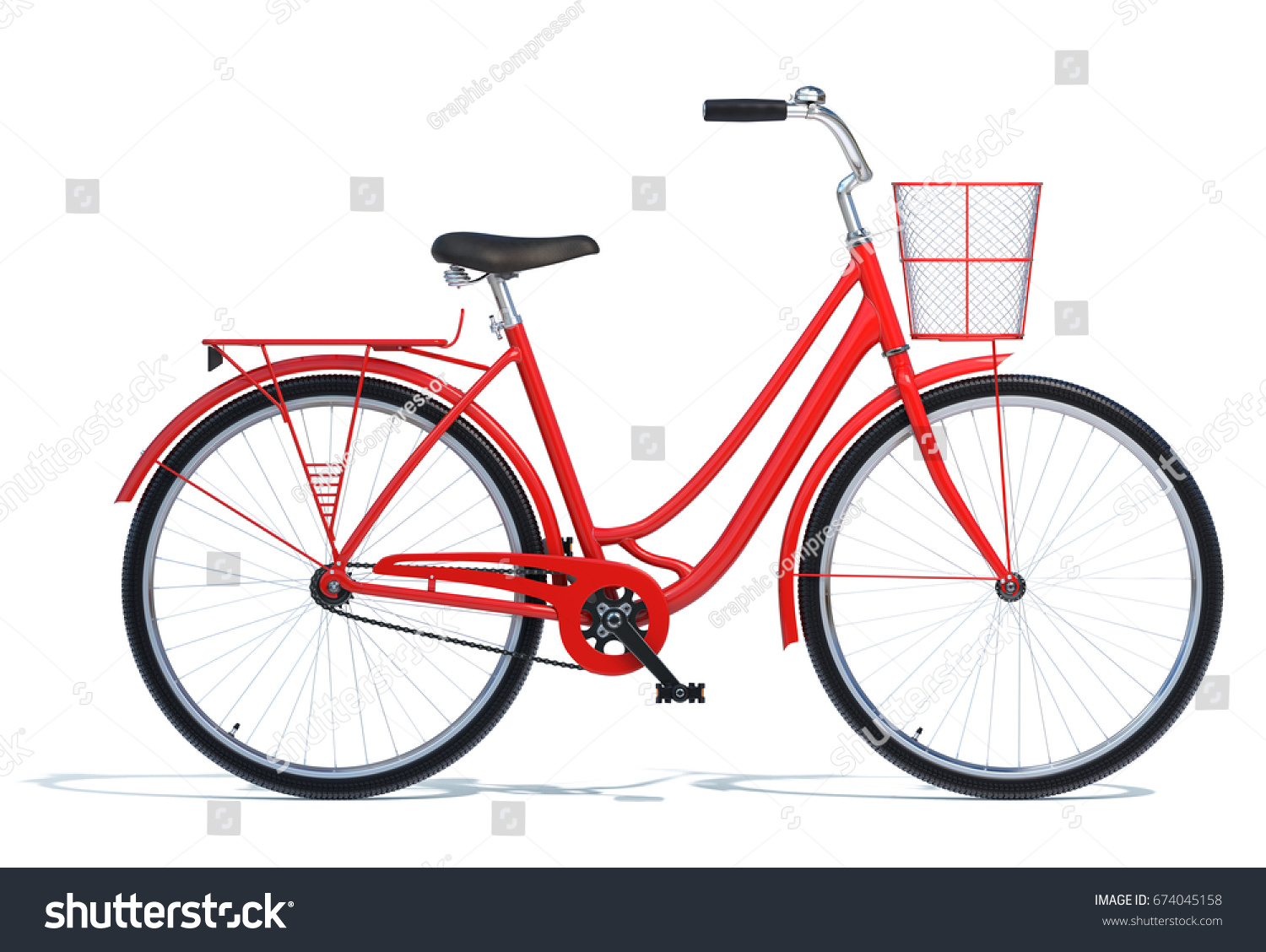 Red Vintage Style Bike Isolated On Stock Illustration 674045158