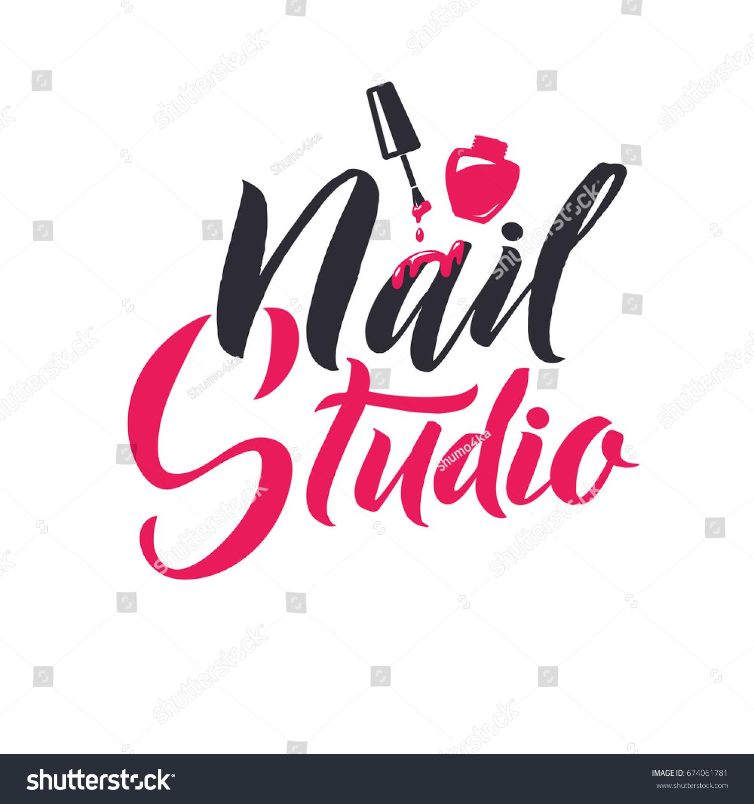Nail Master Logo Beauty Vector Lettering Stock Vector 674061781 ...