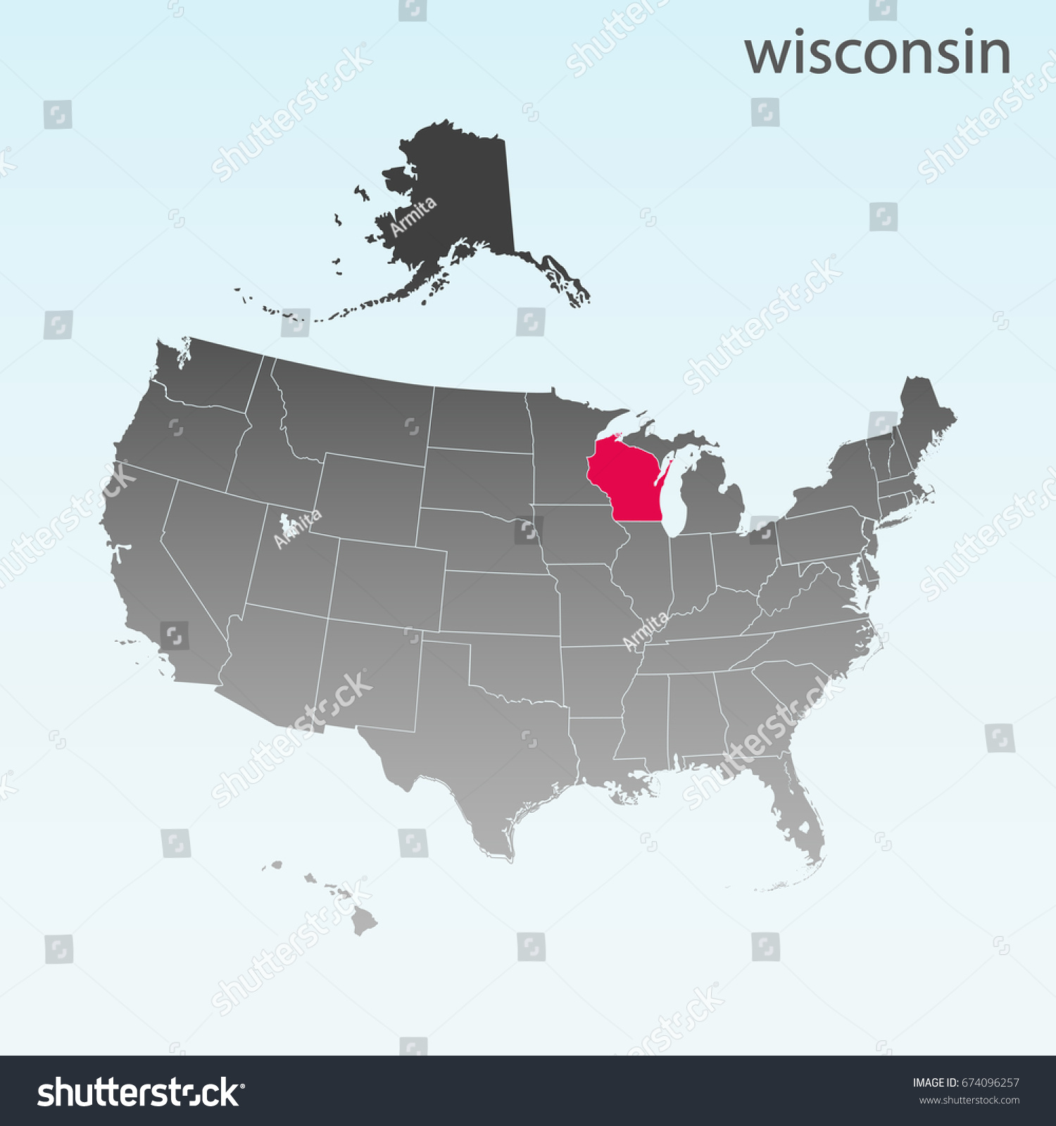 Usa State Wisconsin Map Stock Vector Shutterstock - Wisconsin on map of usa