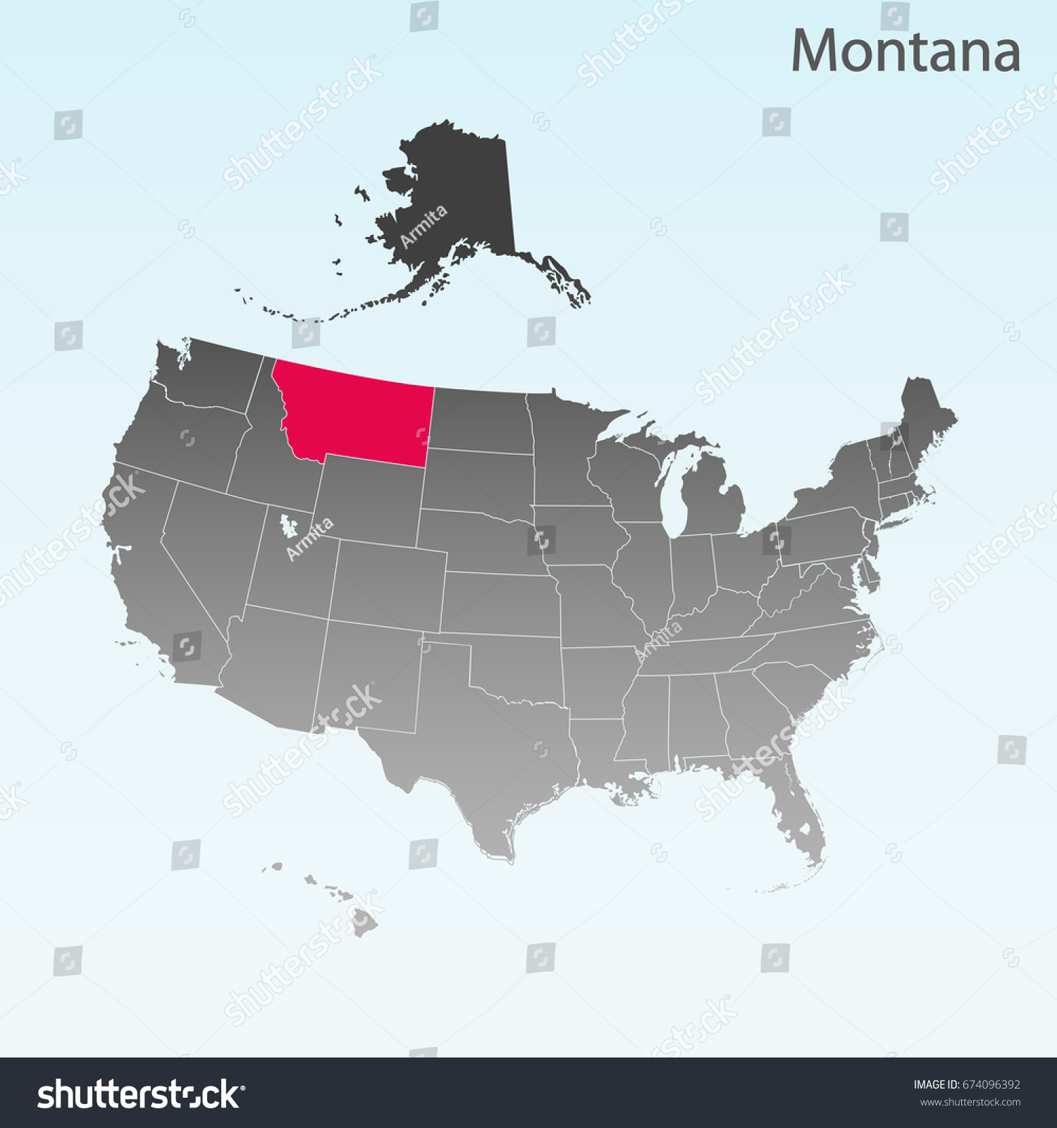 Usa State Montana Map Stock Vector Shutterstock - Montana on map of usa