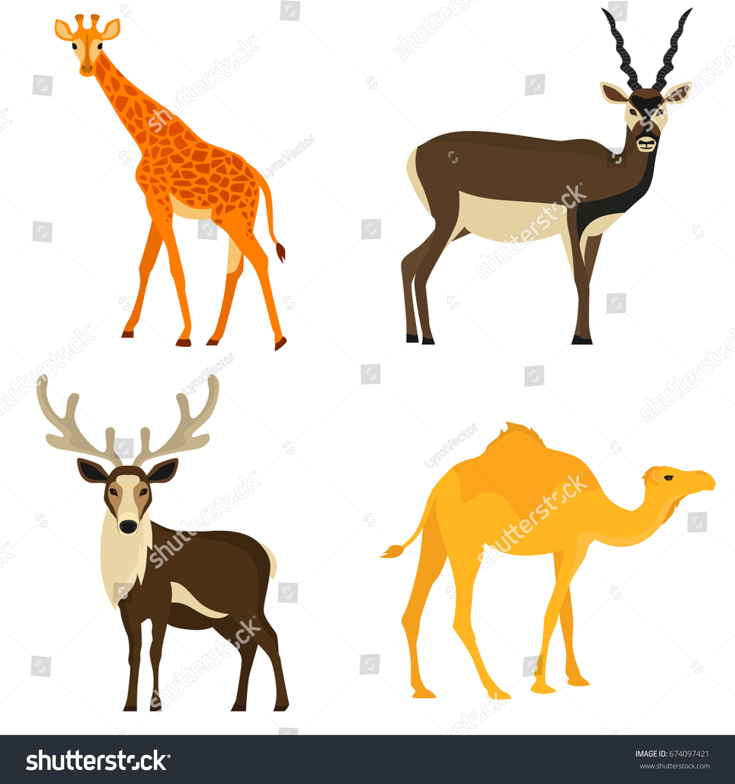 set hoofed animals color flat icons stock vector 674097421