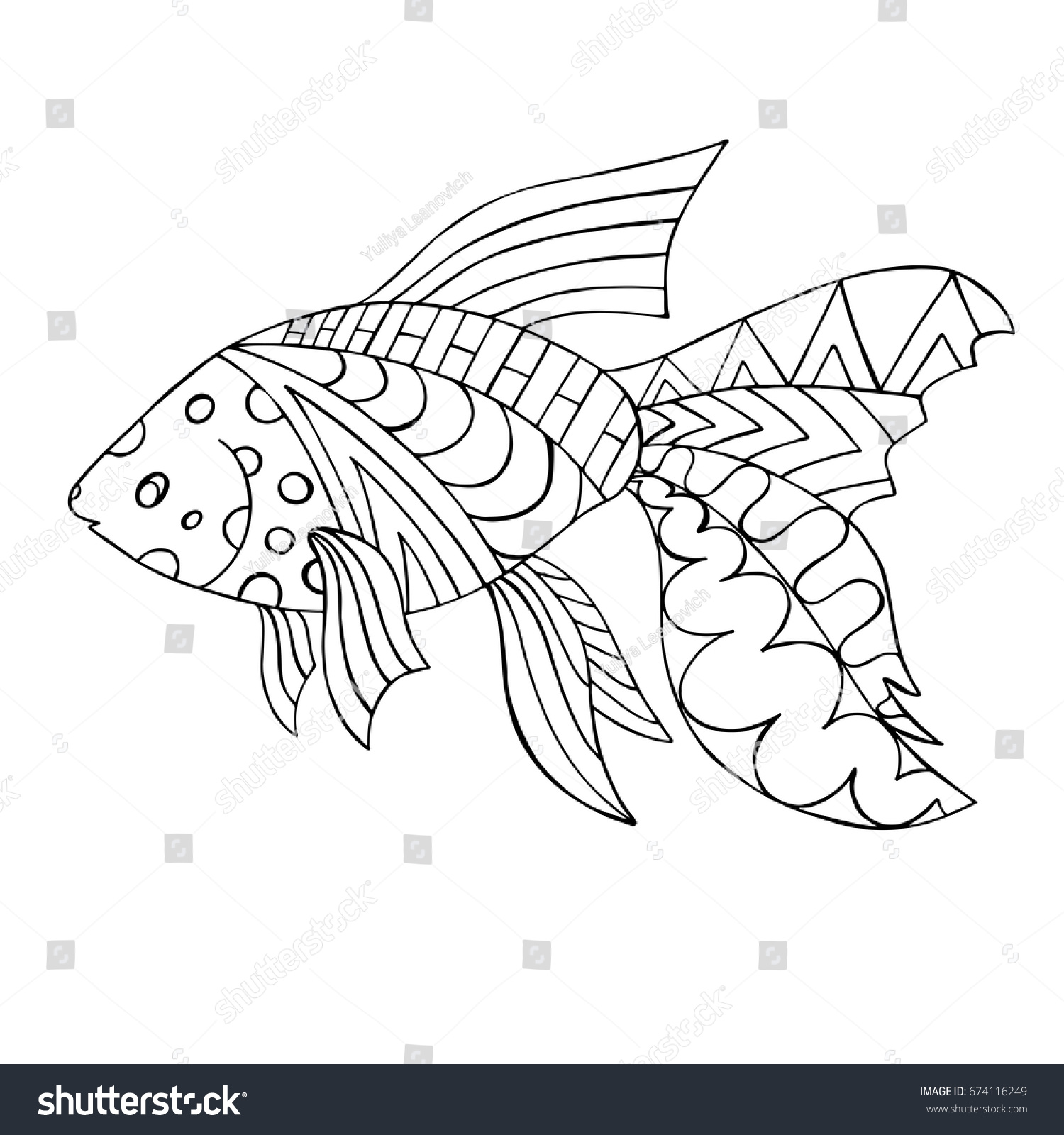 Goldfish Zentangle Fish For Coloring Page Adult Antistress Vector Illustration