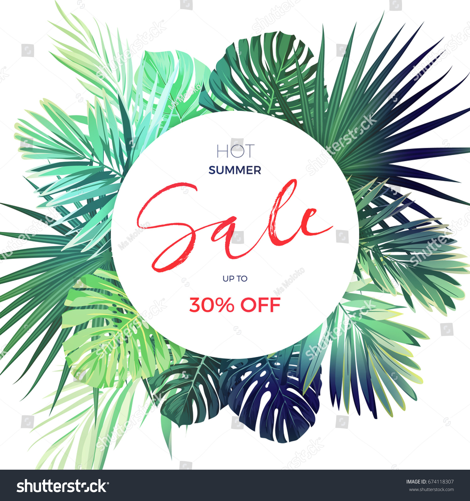 Green Botanical Summer Tropical Sale Flyer Ilustración de ...