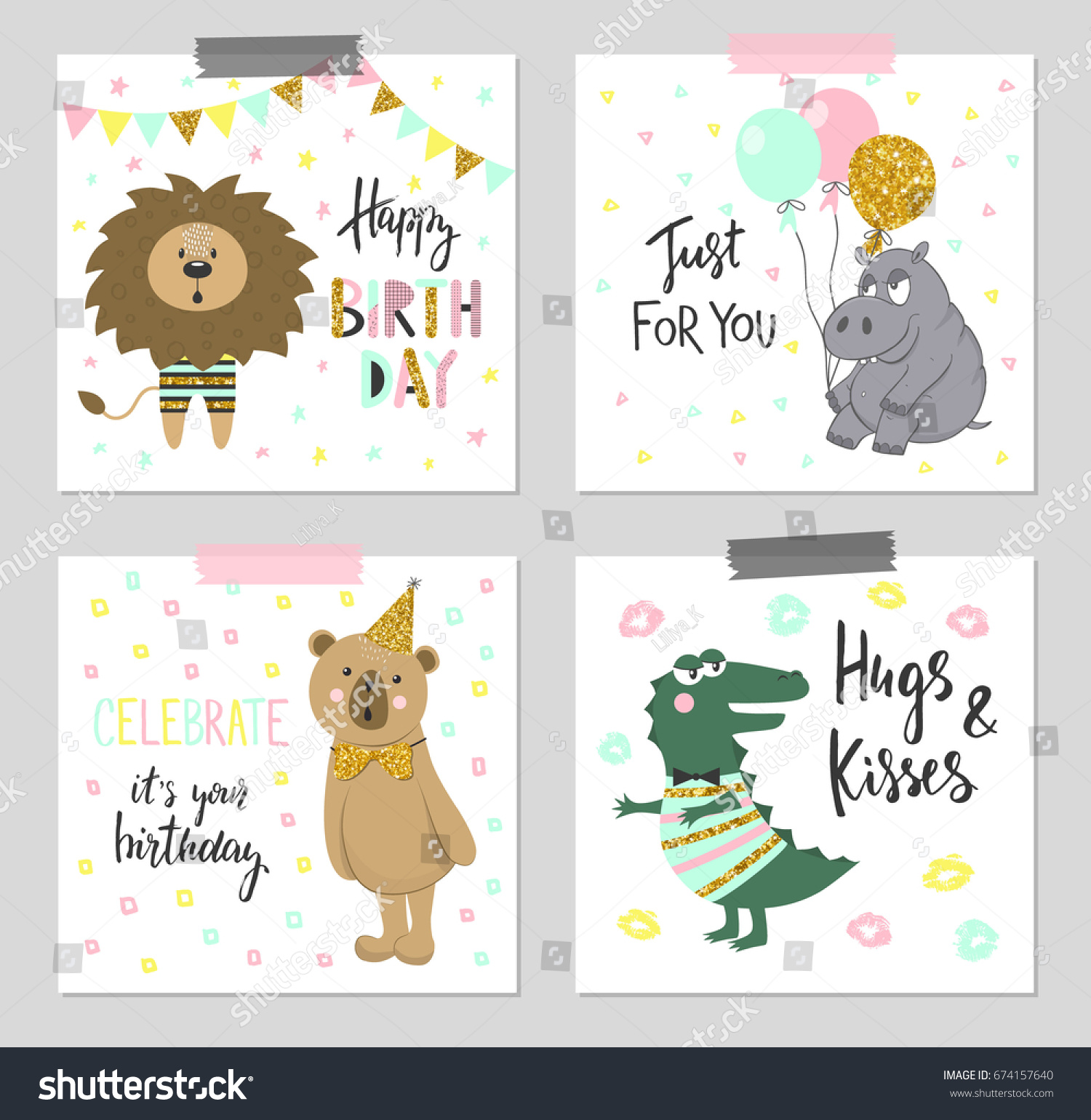 Happy Birthday Greeting Cards Party Invitation Stock Vector ...