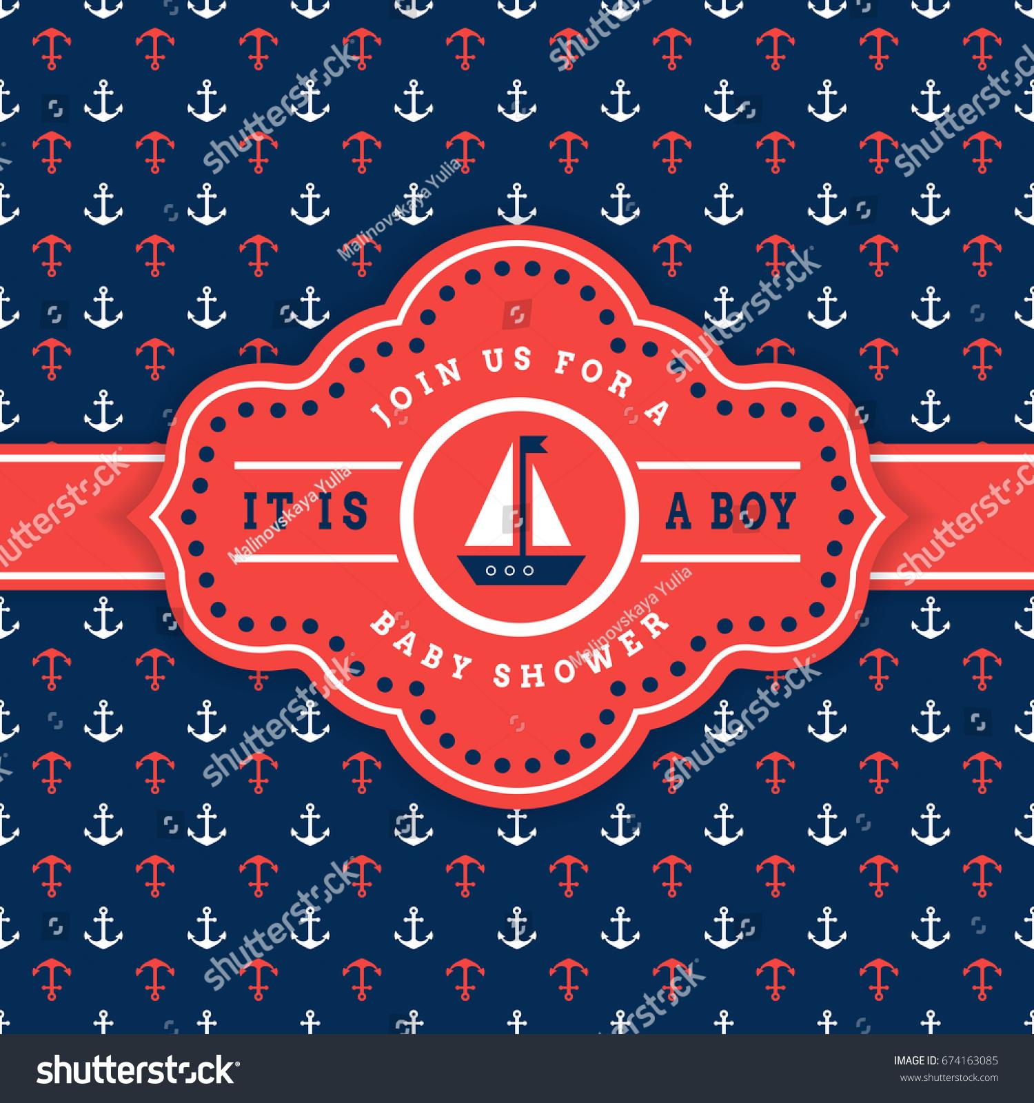 Nautical Baby Shower Sea Theme Party Stock Illustration 674163085 ...