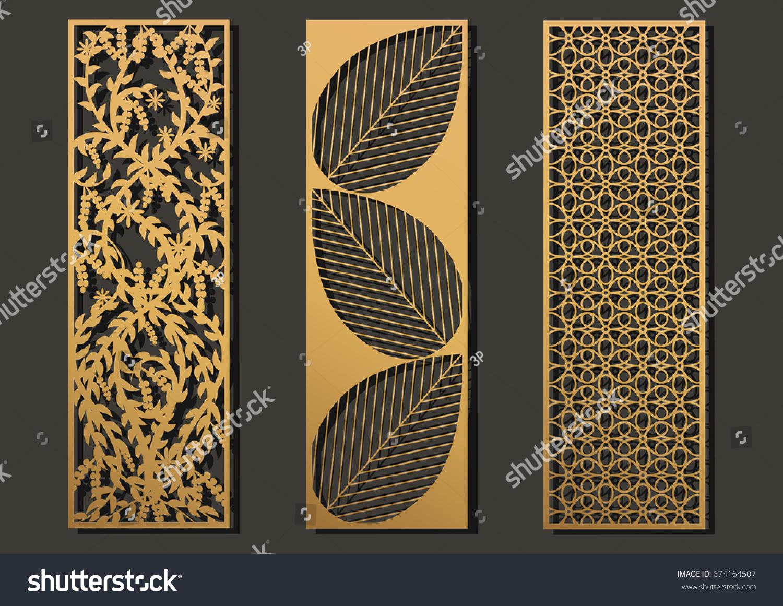 Laser Cut Template Panels Set Die Vector de stock (libre de regalías ...