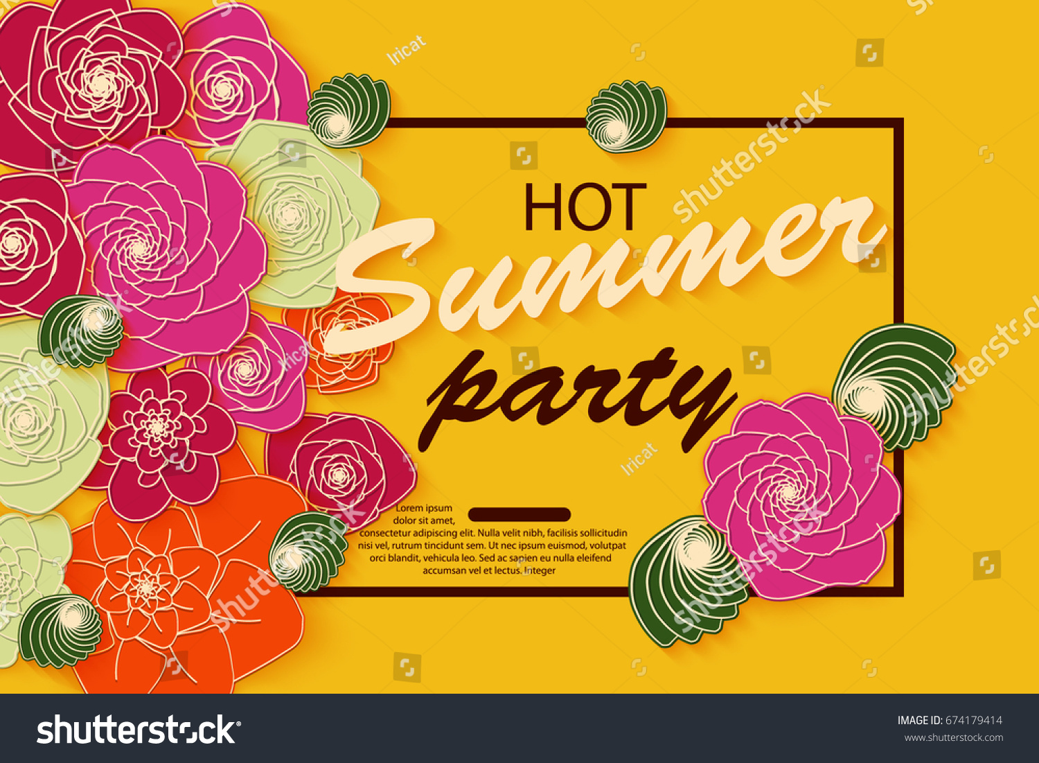 Summer banner design bright paper flowers stock vector 674179414 summer banner design with bright paper flowers for party for online shopping advertising actions dhlflorist Image collections