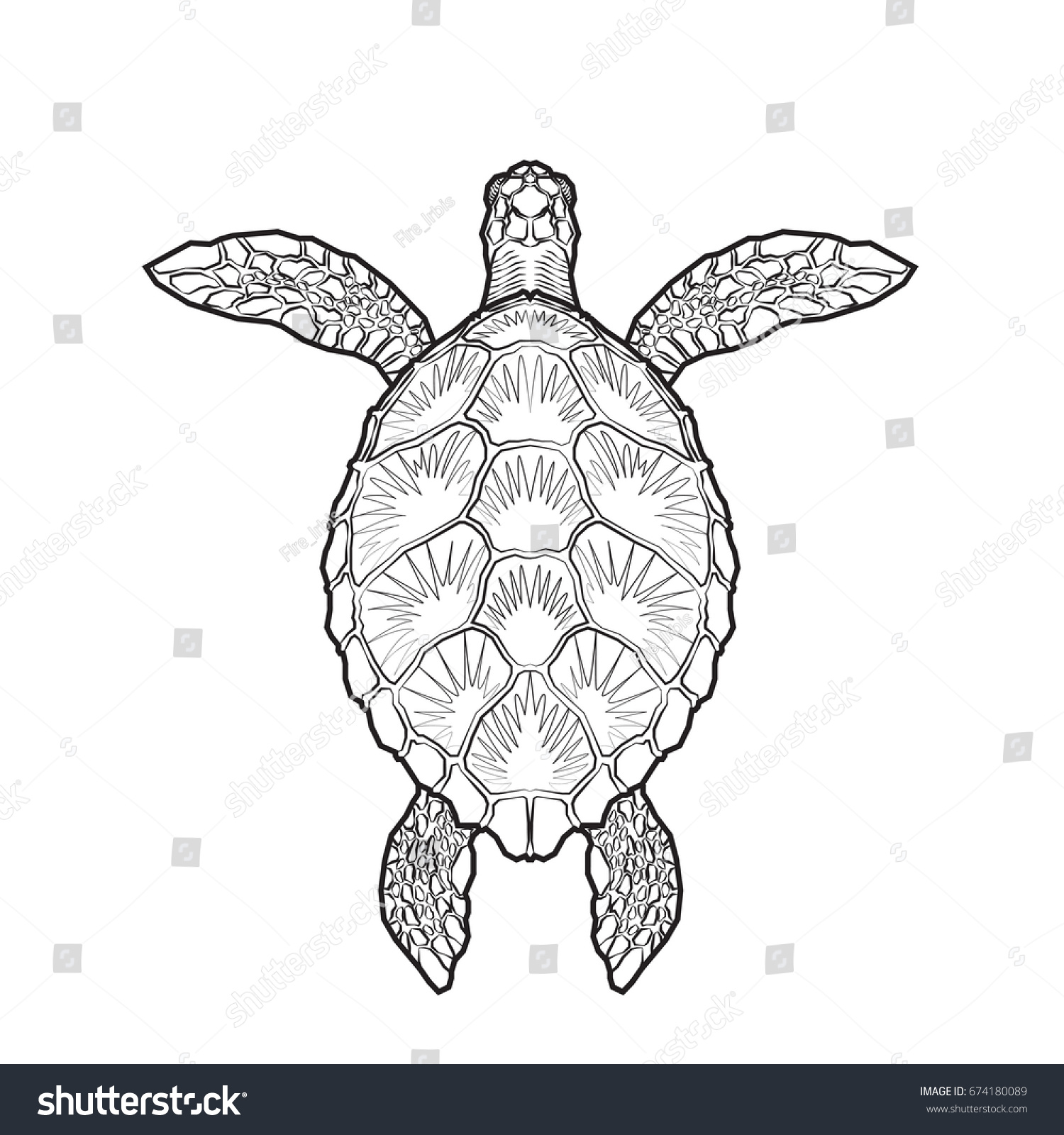 Sea Turtle Adult Coloring Page Stock Vector 674180089 - Shutterstock