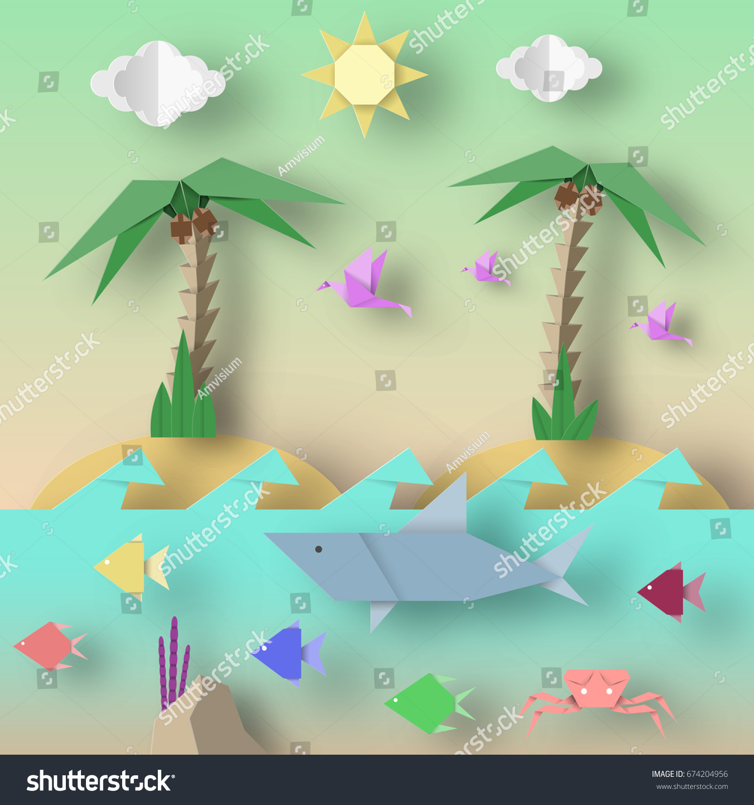 origami style crafted out paper cut stock vector 674204956