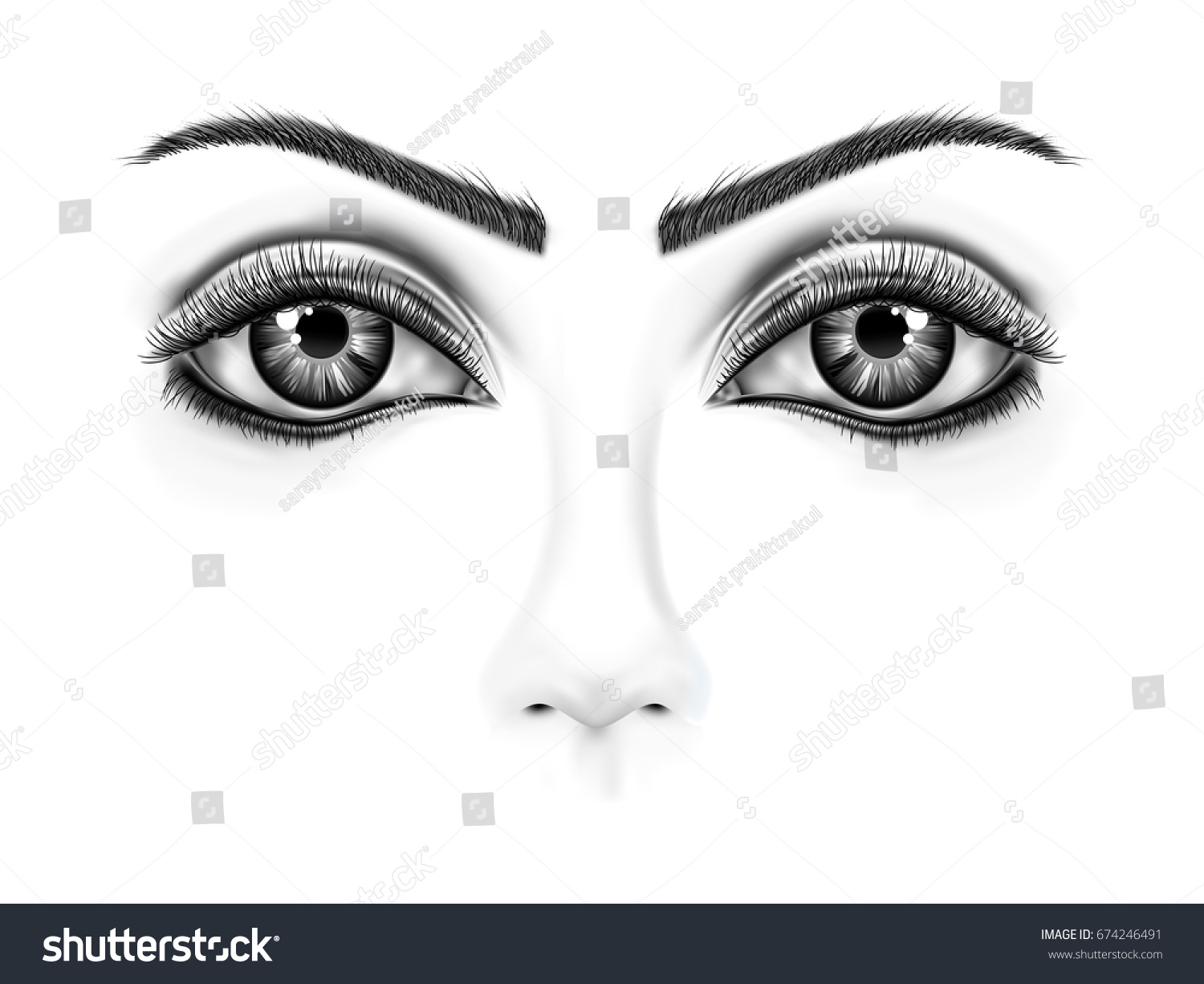 Drawing Eye Closeup Black White Background Stock Vector HD (Royalty ...