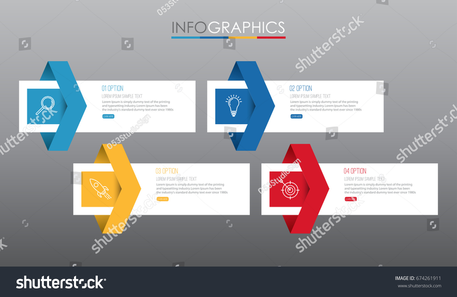 Infographic Template Diagram 4 Steps Multicolor Stock Vector ...
