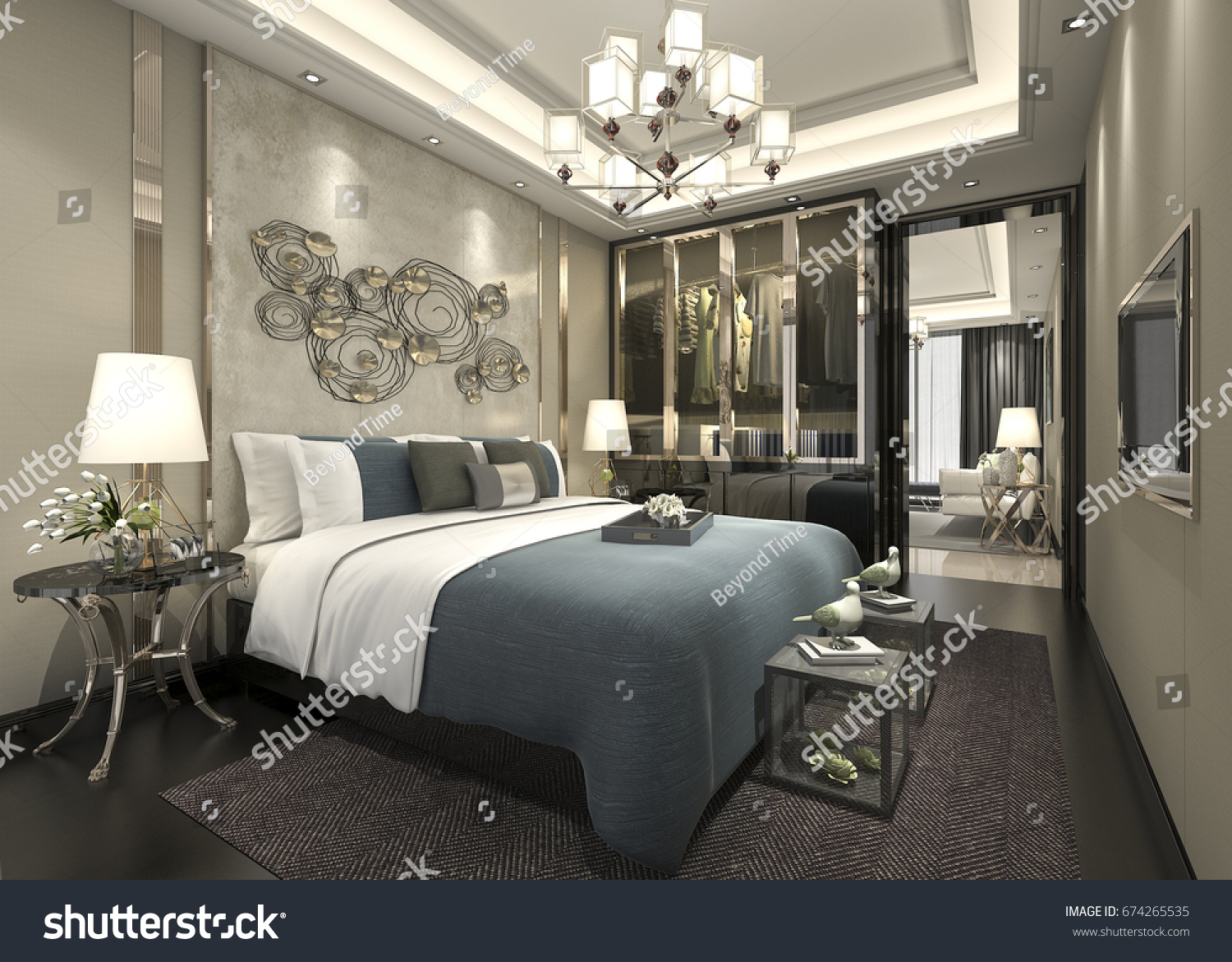 3d rendering luxury modern bedroom suite in hotel with wardrobe and walk in closet - Luxury Modern Bedroom