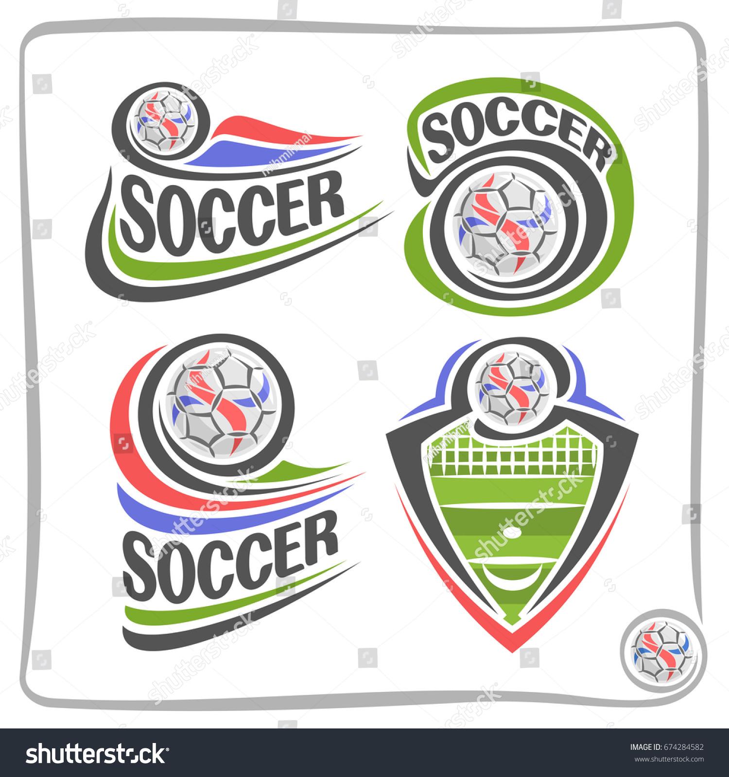 Vector Set Abstract Logos Soccer Shield Stock Vector Royalty Free