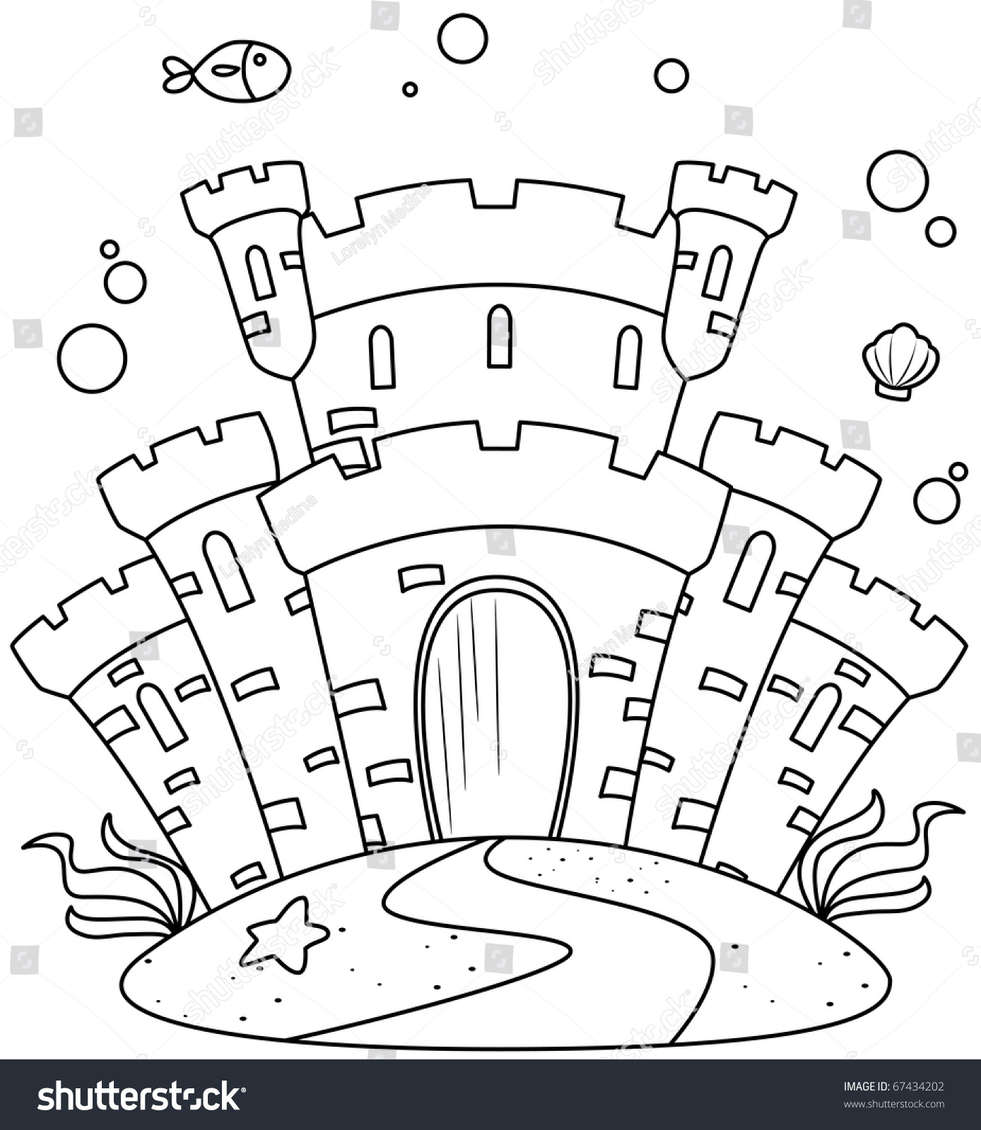 Coloring pages under the sea - Line Art Illustration Of A Castle Under The Sea Coloring Page