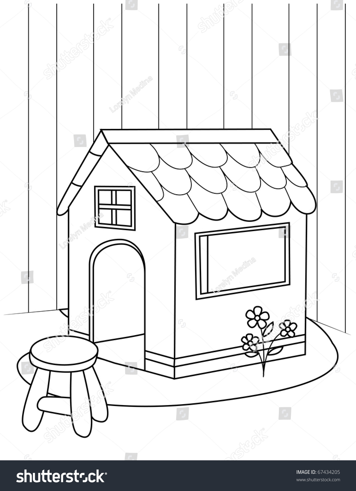 Line Art Illustration Playhouse Coloring Page Stock Vector ...
