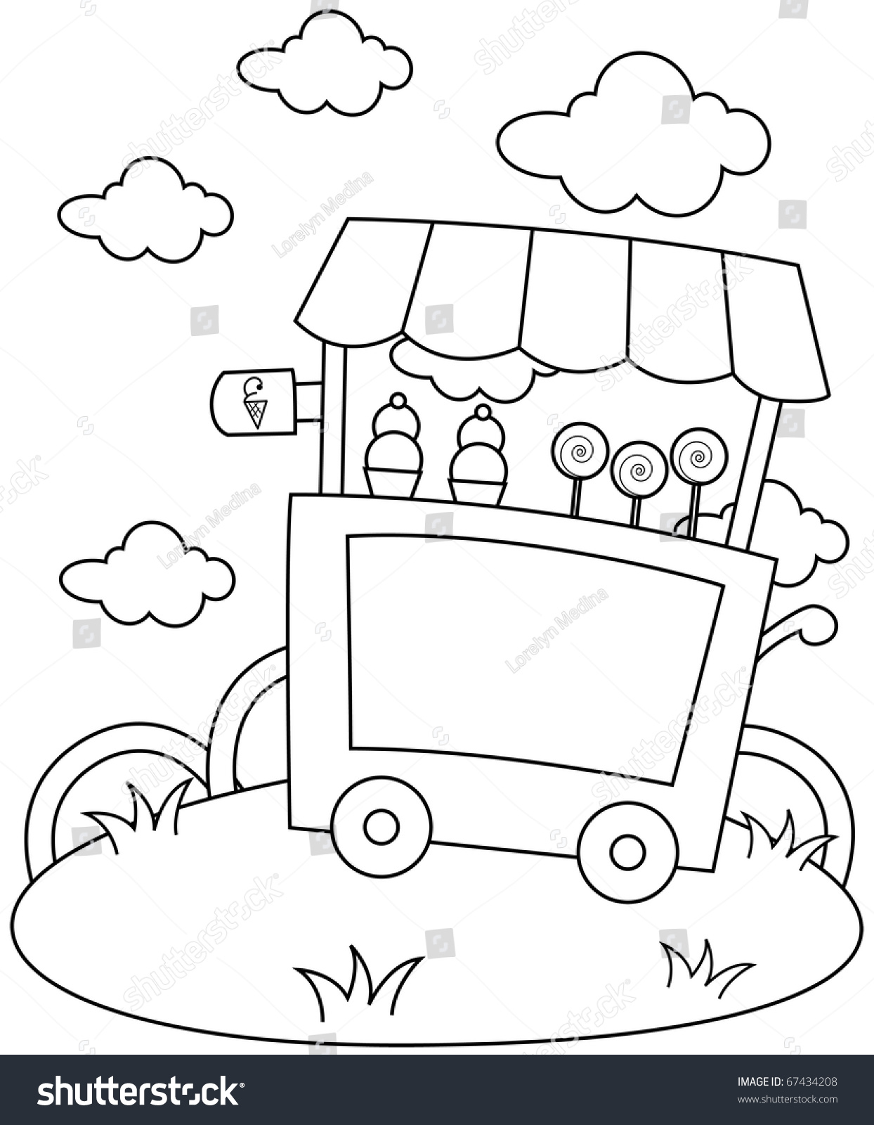 line art illustration ice cream stand stock vector 67434208