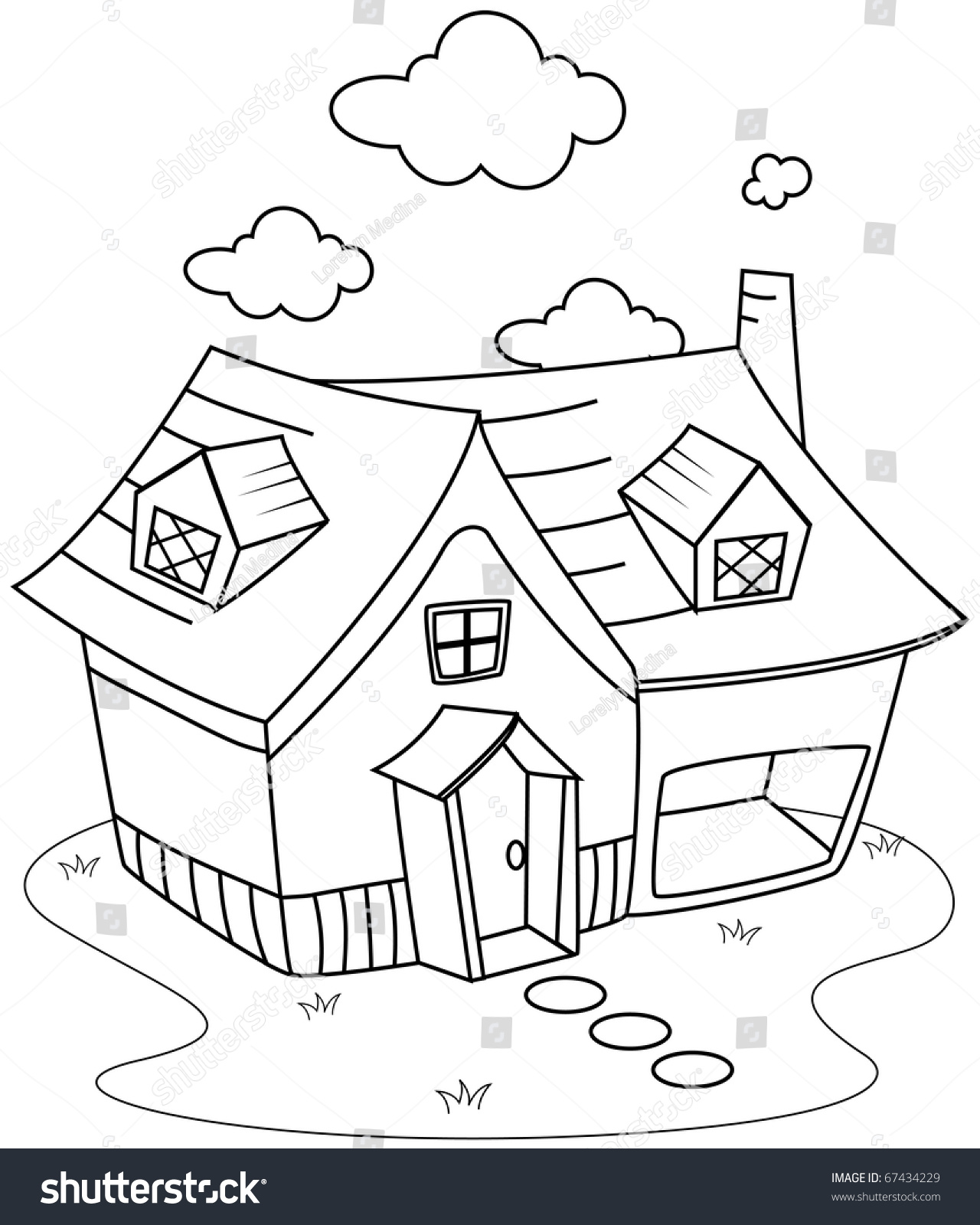 Line art illustration of a cute little house coloring for Little house coloring pages