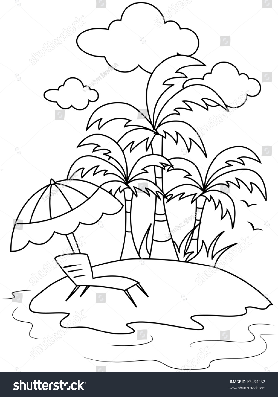 Line Art Illustration Of A Small Isle With Beach Umbrella And Reclining Chair In Front