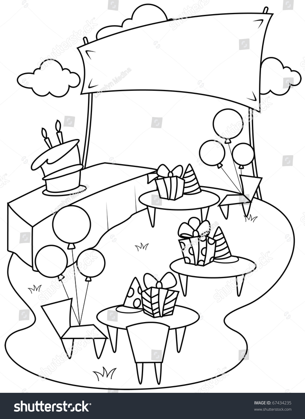 line art illustration garden party coloring stock vector 67434235