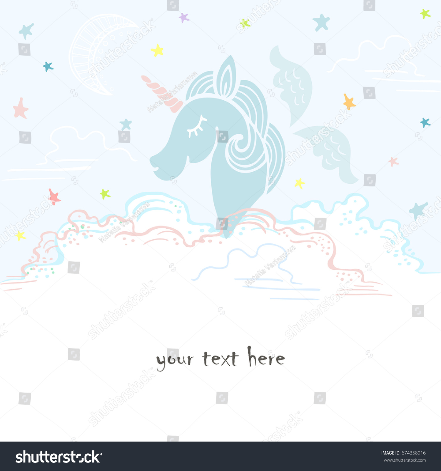 cute template blue unicorn wings clouds stock vector 674358916