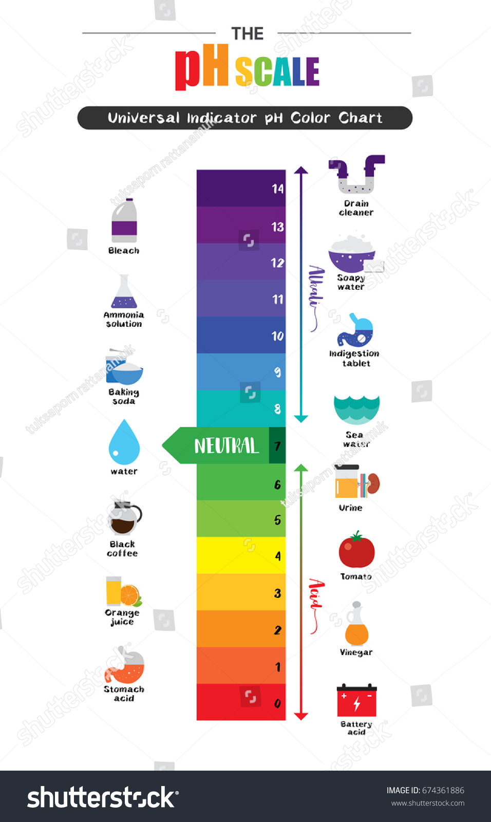 Ph scale universal indicator ph color stock vector 674361886 ph scale universal indicator ph color stock vector 674361886 shutterstock nvjuhfo Images
