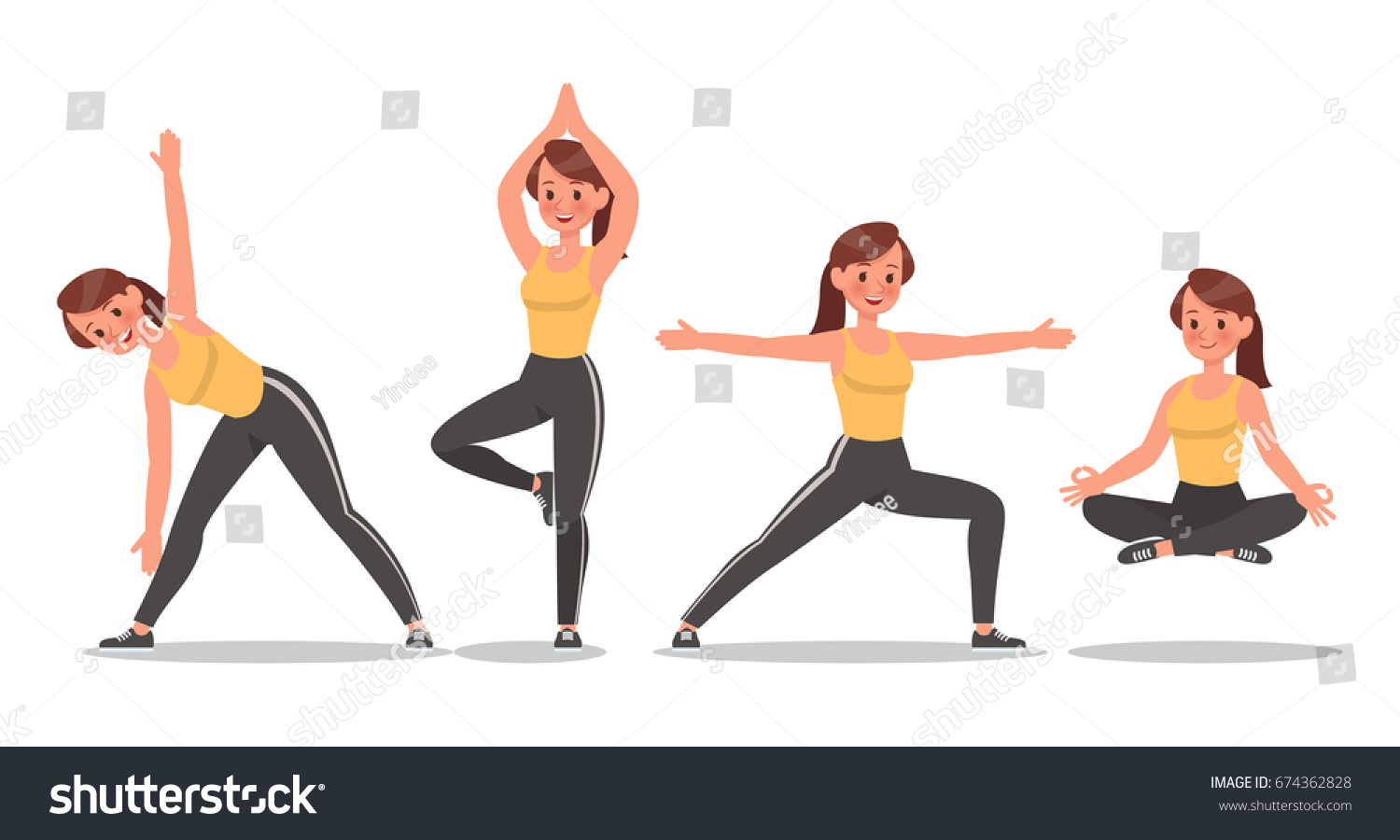 Fitness Woman Doing Yoga Character Vector Stock Vector 674362828 ... for Physical Fitness Design  555kxo