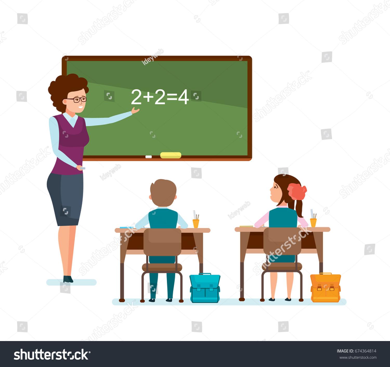 Modern Classroom Vector ~ Modern education school teacher tells stock vector