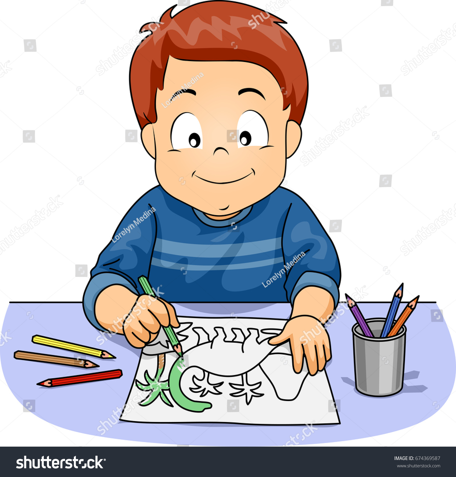 Illustration Featuring Cute Little Boy Coloring Stock Vector ...