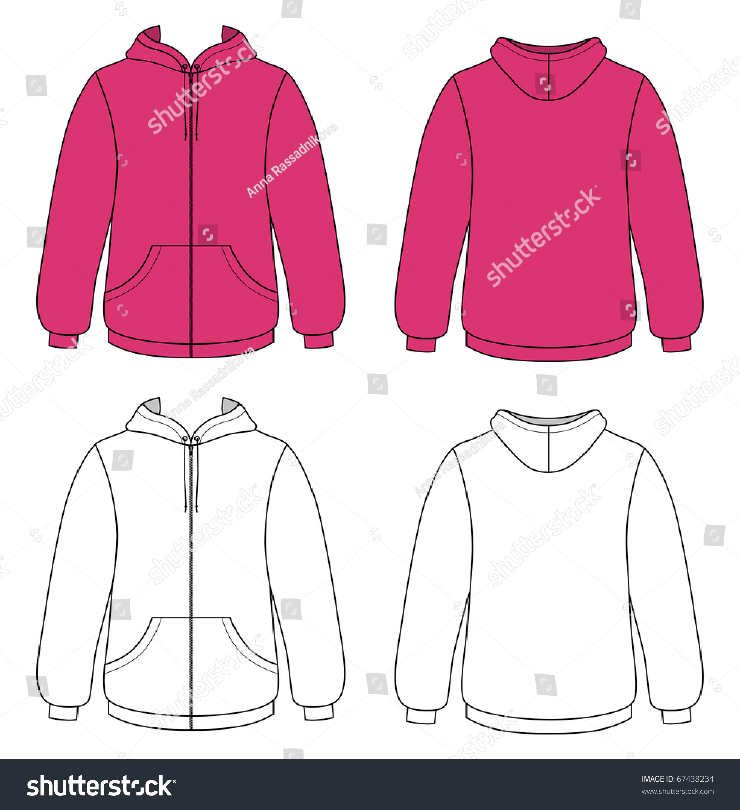 template outline illustration of a blank hooded sweater 67438234