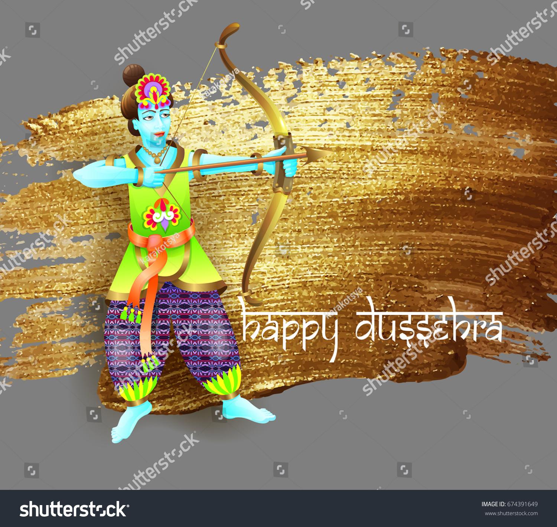 Happy Dussehra Greeting Card Design Krishna Stock Illustration