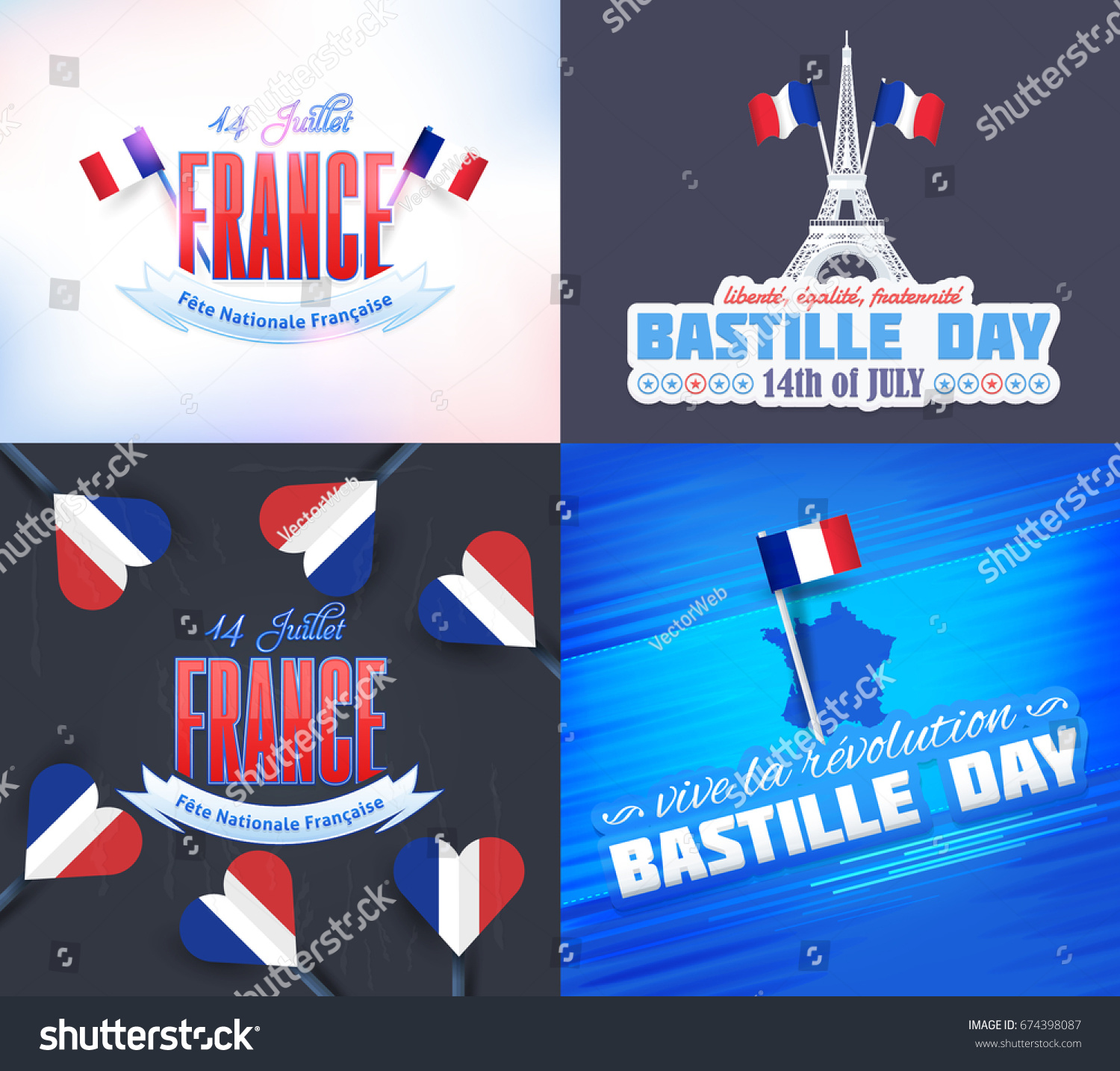 France bastille day design greeting card stock vector 674398087 france bastille day design greeting card set vector elements french text m4hsunfo
