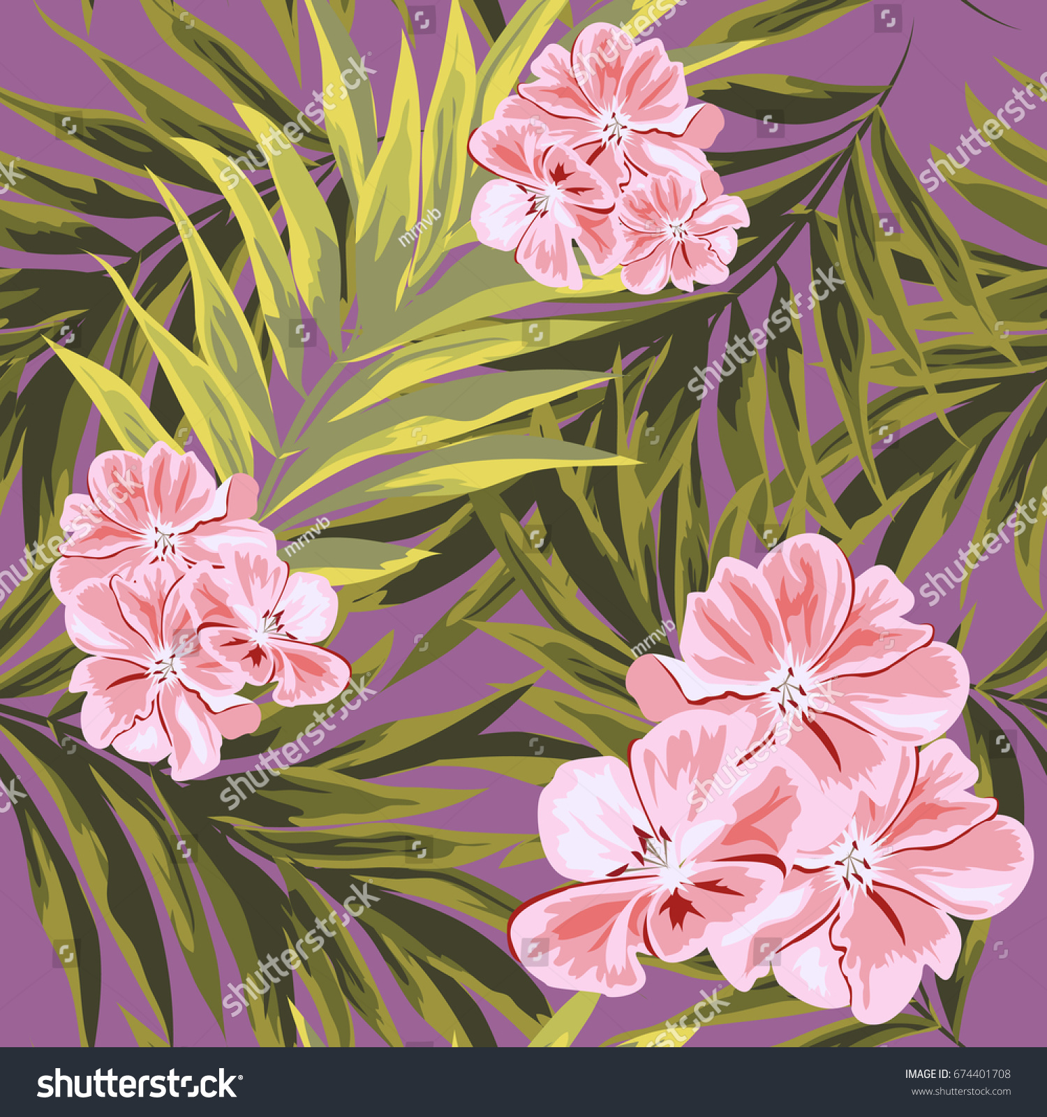 Tropical Seamless Floral Pattern Leaves Palm 674401708