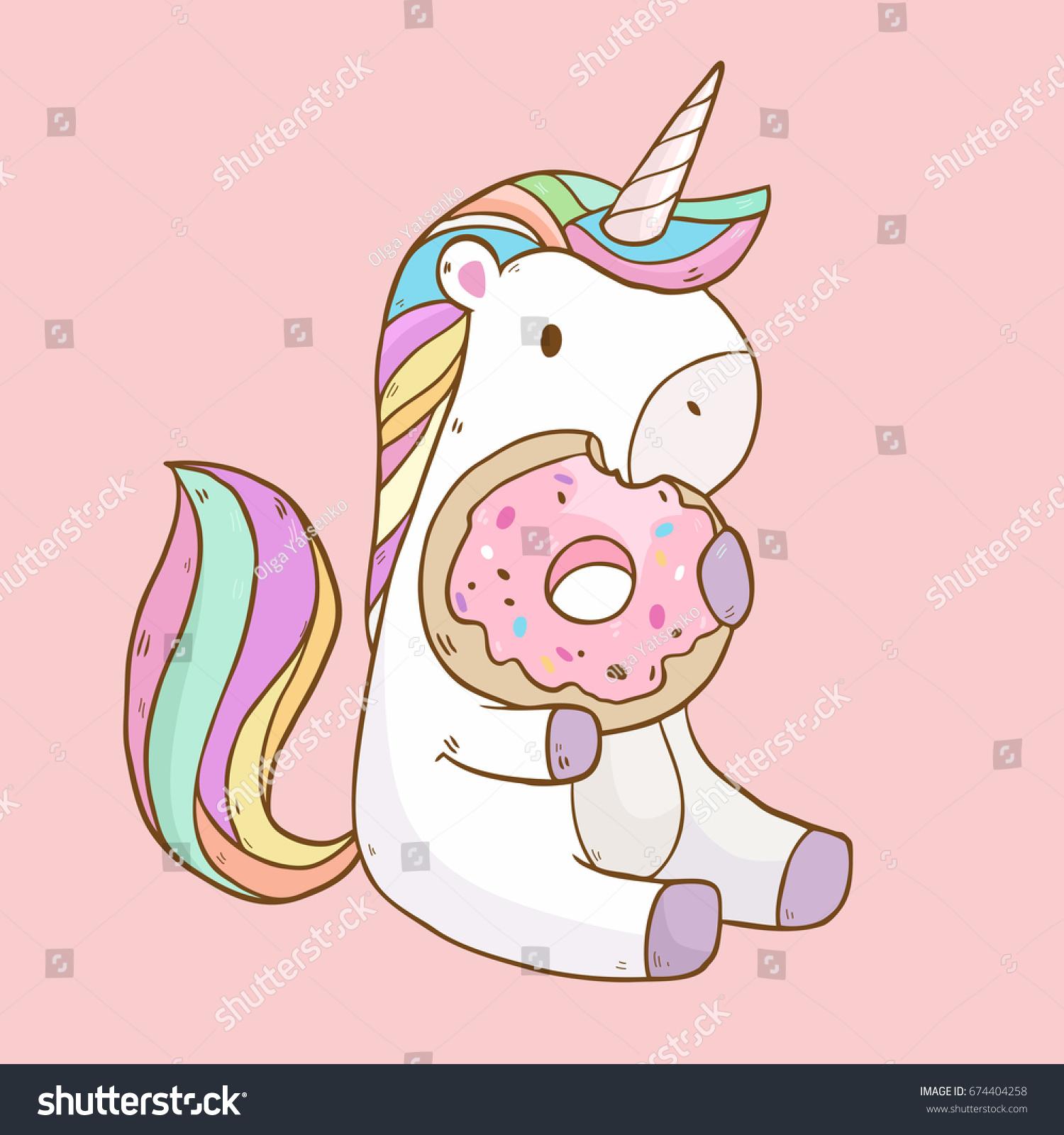 vector illustration cute cartoon unicorn eating stock vector