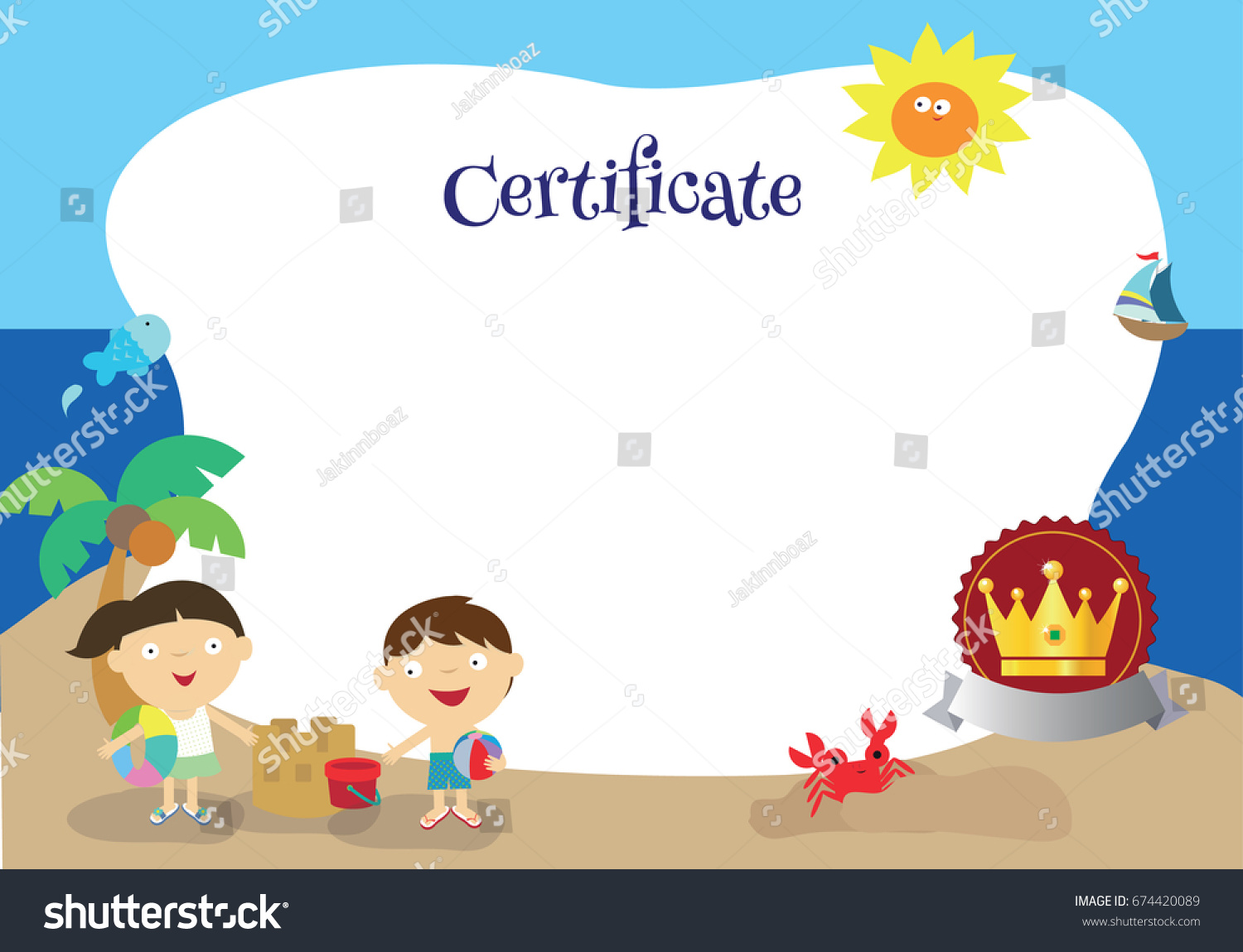Child certificate template images templates example free download beach themed certificate template palm tree stock vector 674420089 a beach themed certificate template palm tree xflitez Images