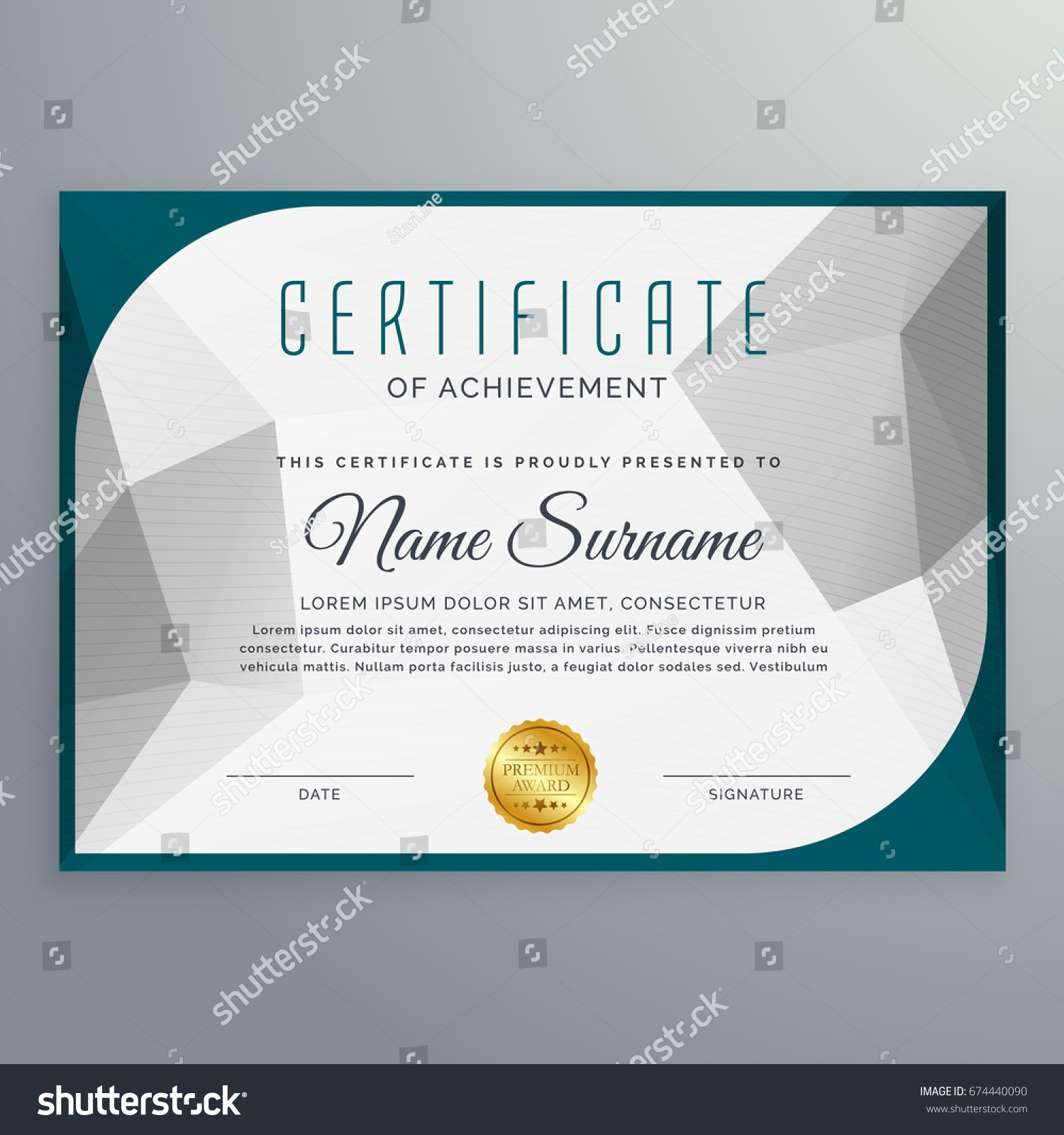 Creative Simple Certificate Design Template Abstract Stock Vector 674440090 Shutterstock
