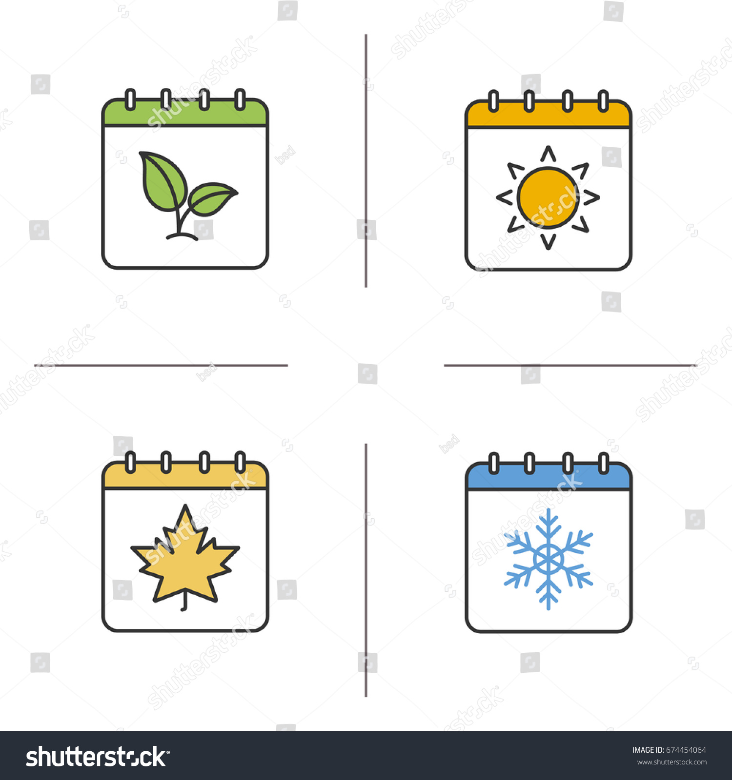 Seasons calendar color icons set spring stock vector 674454064 shutterstock - Autumn plowing time all set for winter ...